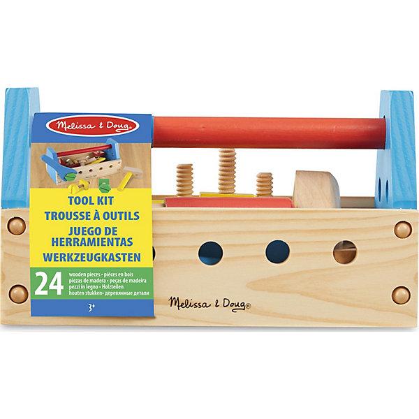Набор инструментов Melissa&amp;Doug, 24 предмета (дерево)Наборы инструментов<br>Характеристики:<br><br>• возраст: от 3 лет<br>• в наборе 24 предмета: ящик с ручкой, отвёртка, гвозди, болты, гайки, молоток, гаечный ключ, пластинки с отверстиями<br>• материал: дерево<br>• размер упаковки: 25х14х13 см.<br>• вес: 900 гр.<br><br>Набор инструментов станет прекрасным подарком маленькому строителю. Благодаря этому набору ребёнок сможет познакомиться с различными видами инструментов. Он научится закручивать болты с помощью гаечного ключа или отвертки, и забивать гвозди молотком. Инструменты уложены в удобный деревянный ящик с ручкой. Игра с набором развивает мелкую моторику рук и воображение.<br><br>Все элементы набора выполнены из тщательно отшлифованной древесины, окрашены в яркие насыщенные цвета сертифицированными безопасными красками.<br><br>Набор инструментов Melissa&amp;Doug можно купить в нашем интернет-магазине.<br><br>Ширина мм: 250<br>Глубина мм: 120<br>Высота мм: 150<br>Вес г: 953<br>Возраст от месяцев: 36<br>Возраст до месяцев: 2147483647<br>Пол: Унисекс<br>Возраст: Детский<br>SKU: 7054932