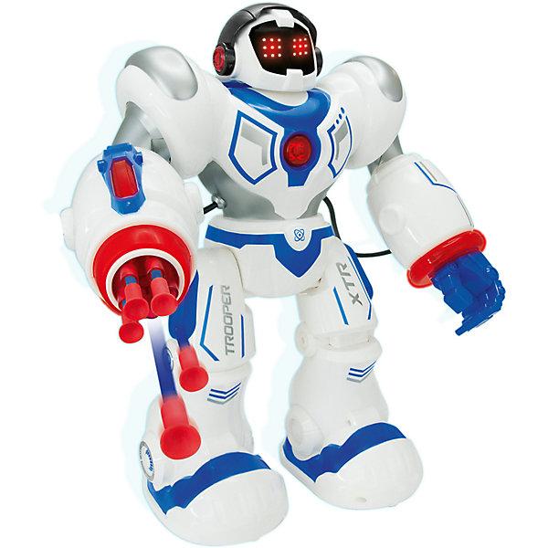 Робот на р/у Longshore Limited Xtrem Bots: ШтурмовикРоботы<br>Характеристики:<br><br>• возраст: 5+;<br>• материал: пластик;<br>• высота игрушки: 35 см;<br>• в комплекте: робот со встроенным аккумулятором, пульт управления, USB-провод,5 стрел с присосками;<br>• тип питания робота: аккумулятор;<br>• тип аккумулятора: Li-Po 600 mAh;<br>• тип питания пульта: батарейки (в комплект не входят);<br>• тип батареек: 2 х АА / LR6 1.5V (пальчиковые);<br>• габариты упаковки: 39,5х42х15,5 см;<br>• упаковка: картонная коробка блистерного типа;<br>• вес: 1,063 кг.<br><br>Робот-штурмовик Xtrem Bots – умная игрушка с возможностью управления и программирования. Робот оснащен специальными датчиками, которые отвечают за световые и звуковые эффекты.<br><br>Дети и взрослые с удовольствием будут придумывать новые испытания для Штурмовика. Управление происходит при помощи дистанционного пульта. Есть возможность программирования более 50 функций.<br><br>Робот-игрушка выполняет команды, танцует, двигается, говорит, ходит, поднимает руки и поворачивается. У необычного робота есть отличительная функция: он умеет стрелять мягкими дротиками, вставляемыми непосредственно в руку. Стрелы выполнены из мягкого материала и безопасны для детей.<br><br>Робота на радиоуправлении «Xtrem Bots: Штурмовик», Longshore Limited можно приобрести в нашем интернет-магазине.<br>Ширина мм: 427; Глубина мм: 396; Высота мм: 162; Вес г: 1762; Возраст от месяцев: 60; Возраст до месяцев: 108; Пол: Мужской; Возраст: Детский; SKU: 7061903;
