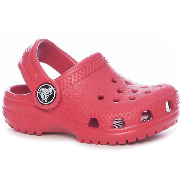 Сабо Classic Clog K для девочкиПляжная обувь<br>Характеристики товара:<br><br>• цвет: красный<br>• материал: Croslite<br>• стелька: с массажными линиями <br>• сезон: лето<br>• особенности модели: с перфорацией<br>• пяточный ремешок: поворотный<br>• защита мыса <br>• подошва не скользит <br>• анатомические <br>• страна бренда: США<br>• страна производства: Китай<br><br>Благодаря новейшим технологиям ноги в таких сабо для ребенка не устают и не скользят. Детские сабо Крокс отлично подходят для ношения в теплую погоду. Обувь Crocs для детей обеспечивает комфортный микроклимат ногам на весь день. Удобные сабо Crocs сделаны из уникального материала Croslite. <br><br>Сабо Classic Clog K Crocs (Крокс) можно купить в нашем интернет-магазине.<br>Ширина мм: 225; Глубина мм: 139; Высота мм: 112; Вес г: 290; Цвет: красный; Возраст от месяцев: 12; Возраст до месяцев: 15; Пол: Женский; Возраст: Детский; Размер: 21,22,34/35,33/34,31/32,30,29,28,27,26,25,24,23; SKU: 7063329;