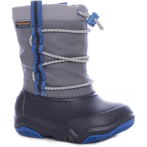 Сноубутсы Swiftwater Waterproof Boot KСноубутсы<br>Характеристики товара:<br><br>• цвет: серый<br>• внешний материал: водоотталкивающий нейлон<br>• внутренний материал: текстиль<br>• стелька: текстиль<br>• подошва: Croslite, резина<br>• сезон: демисезон<br>• температурный режим: от -10 до +5<br>• застежка: утяжка<br>• непромокаемые<br>• защита мыса <br>• подошва не скользит <br>• анатомические <br>• страна бренда: США<br>• страна производства: Китай<br><br>Непромокаемые детские сапоги Крокс отлично подходят для ношения в мокрую погоду. Детские сапоги Crocs сделаны из высокотехнологичного материала Croslite и непромокаемого нейлон. Благодаря резиновым вставкам в подошве такие сапоги для ребенка не скользят. Обувь Крокс популярна во всем мире благодаря высокому качеству и удобству. <br><br>Сапоги Swiftwater Waterproof Boot K Crocs (Крокс) можно купить в нашем интернет-магазине.<br><br>Ширина мм: 257<br>Глубина мм: 180<br>Высота мм: 130<br>Вес г: 420<br>Цвет: черный<br>Возраст от месяцев: 18<br>Возраст до месяцев: 21<br>Пол: Унисекс<br>Возраст: Детский<br>Размер: 23,34/35,33/34,31/32,30,29,28,27,26,25,24<br>SKU: 7063479