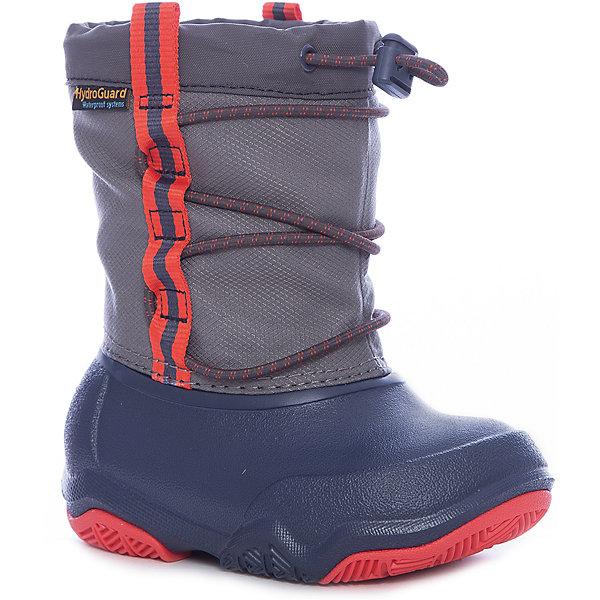 Сапоги Swiftwater Waterproof Boot KСноубутсы<br>Характеристики товара:<br><br>• цвет: серый<br>• внешний материал: водоотталкивающий нейлон<br>• внутренний материал: текстиль<br>• стелька: текстиль<br>• подошва: Croslite, резина<br>• сезон: демисезон<br>• температурный режим: от -10 до +5<br>• застежка: утяжка<br>• непромокаемые<br>• защита мыса <br>• подошва не скользит <br>• анатомические <br>• страна бренда: США<br>• страна производства: Китай<br><br>Детские сапоги Крокс дополнены удобной утяжкой. Популярная обувь Crocs для детей обеспечивает комфортный микроклимат ногам на весь день. Такие детские сапоги Crocs сделаны из уникального материала Croslite и прочного нейлона. Благодаря новейшим технологиям ноги в таких непромокаемых сапогах для ребенка не устают и не скользят. <br><br>Сапоги Swiftwater Waterproof Boot K Crocs (Крокс) можно купить в нашем интернет-магазине.<br><br>Ширина мм: 257<br>Глубина мм: 180<br>Высота мм: 130<br>Вес г: 420<br>Цвет: синий<br>Возраст от месяцев: 18<br>Возраст до месяцев: 21<br>Пол: Унисекс<br>Возраст: Детский<br>Размер: 23,34/35,33/34,31/32,30,29,28,27,26,25,24<br>SKU: 7063491