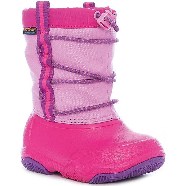 Сноубутсы Swiftwater Waterproof Boot K для девочкиСноубутсы<br>Характеристики товара:<br><br>• цвет: розовый<br>• внешний материал: водоотталкивающий нейлон<br>• внутренний материал: текстиль<br>• стелька: текстиль<br>• подошва: Croslite, резина<br>• сезон: демисезон<br>• температурный режим: от -10 до +5<br>• застежка: утяжка<br>• непромокаемые<br>• защита мыса <br>• подошва не скользит <br>• анатомические <br>• страна бренда: США<br>• страна производства: Китай<br><br>Непромокаемые детские сапоги Крокс обеспечивают ногам тепло и сухость. Эти сапоги Crocs имеют теплую подкладку внутри. Благодаря уникальному материала Croslite в детской обуви Crocs не размножаются бактерии. Ноги в таких сапогах для ребенка не устают и не скользят. <br><br>Сапоги Swiftwater Waterproof Boot K Crocs (Крокс) можно купить в нашем интернет-магазине.<br><br>Ширина мм: 257<br>Глубина мм: 180<br>Высота мм: 130<br>Вес г: 420<br>Цвет: розовый<br>Возраст от месяцев: 96<br>Возраст до месяцев: 108<br>Пол: Женский<br>Возраст: Детский<br>Размер: 31/32,33/34,34/35,23,24,25,26,27,28,29,30<br>SKU: 7063503
