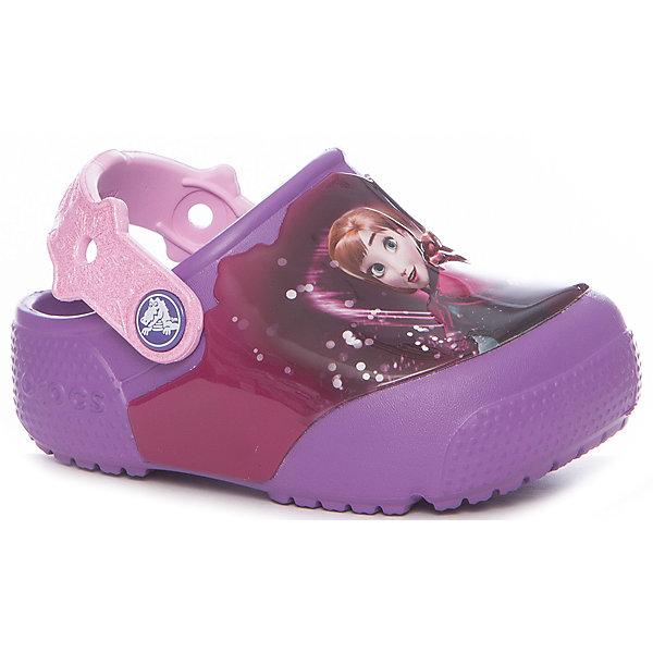 Сабо FunLab Lights Frozen Clog Crocs для девочкиПляжная обувь<br>Характеристики товара:<br><br>• цвет: фиолетовый<br>• материал: Croslite<br>• стелька: с массажными линиями <br>• сезон: лето<br>• пяточный ремешок: поворотный<br>• защита мыса <br>• подошва не скользит <br>• анатомические <br>• страна бренда: США<br>• страна производства: Китай<br><br>Популярная обувь Crocs для детей обеспечивает комфортный микроклимат ногам на весь день. Удобные сабо Crocs сделаны из уникального материала Croslite. Благодаря новейшим технологиям ноги в таких сабо для ребенка не устают и не скользят. Детские сабо Крокс украшены принтом. <br><br>Сабо FunLabLtFrznClg Crocs (Крокс) для девочки можно купить в нашем интернет-магазине.<br>Ширина мм: 225; Глубина мм: 139; Высота мм: 112; Вес г: 290; Цвет: лиловый; Возраст от месяцев: 18; Возраст до месяцев: 21; Пол: Женский; Возраст: Детский; Размер: 23,34/35,33/34,31/32,30,29,28,27,26,25,24; SKU: 7063587;