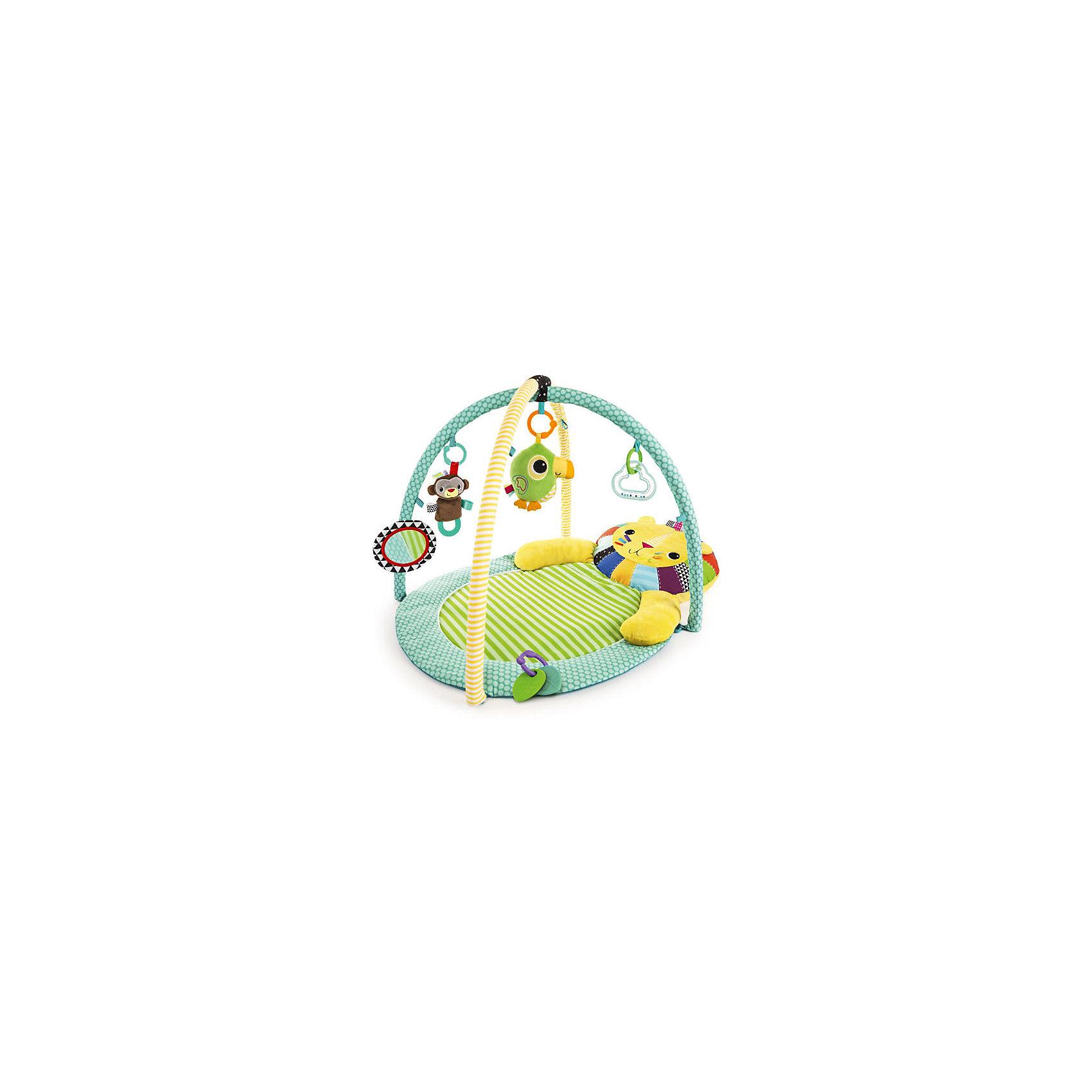 Развивающий коврик Bright Starts Львёнок (звук)Развивающие коврики<br>Малыш будет чувствовать себя очень комфортно, играя на этом уютном коврике!<br><br>ОСОБЕННОСТИ<br>Мягкий удобный коврик стимулирует развитие координации, моторики, зрения и слуха крохи<br>Подушка-львёнок поддержит головку малыша, когда он  будет лежать на коврике<br>Подвесные игрушки включены в комплект:<br>Туканчик с звуковыми эффектами (мелодии  играют более 20 мин.)<br>Мягкая обезьянка<br>Безопасное зеркальце<br>Погремушка в виде облачка<br>2 прорезывателя для зубок в форме листочков<br><br>Размеры товара: 62.23 см x 91.44 см x<br><br>Ширина мм: 9999<br>Глубина мм: 9999<br>Высота мм: 9999<br>Вес г: 9999<br>Возраст от месяцев: 0<br>Возраст до месяцев: 12<br>Пол: Унисекс<br>Возраст: Детский<br>SKU: 7064564