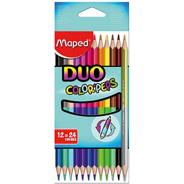 Карандаши цветные Maped, двухсторонние 24 цветаКарандаши для творчества<br>Характеристики:<br><br>• возраст: от 3 лет<br>• в наборе: 12 двусторонних карандашей ярких и насыщенных цветов (включая карандаш золотистого и серебристого цветов)<br>• количество цветов: 24 <br>• твердость грифеля: мягкий<br>• материал корпуса: дерево<br>• длина карандаша: 17,5 см.<br>• диаметр карандаша: 0,7 см.<br>• диаметр грифеля: 2,9 мм.<br>• размер упаковки: 8,5х20,5х1 см.<br><br>Цветные карандаши «Color Peps» - это набор из 12 двусторонних карандашей. Два цвета располагаются на одном карандаше с разных сторон.<br><br>Цветные карандаши разработаны специально для самых маленьких художников, которые только начинают свой творческий путь. Эргономичный трехгранный корпус из американской липы особенно удобен для маленьких детских ручек. Специальное покрытие и многослойная лакировка уменьшают скольжение, что делает процесс рисования максимально комфортным. Мягкий, ударопрочный грифель не ломается и не крошится при заточке.<br><br>В процессе рисования у малышей развивается наглядно-образное мышление, воображение, мелкая моторика рук, творческие и художественные способности, вырабатывается усидчивость и аккуратность.<br><br>MAPED Карандаши цветные, двусторонние, 12 шт./ 24 цвета можно купить в нашем интернет-магазине.<br><br>Ширина мм: 8<br>Глубина мм: 86<br>Высота мм: 206<br>Вес г: 63<br>Возраст от месяцев: 36<br>Возраст до месяцев: 2147483647<br>Пол: Унисекс<br>Возраст: Детский<br>SKU: 7065309