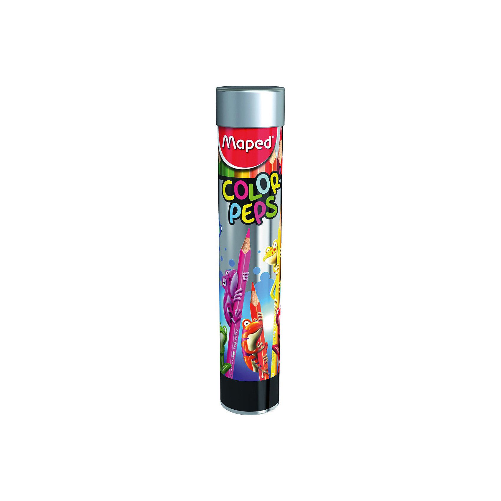 Карандаши цветные Maped, 12 цветовПисьменные принадлежности<br>Характеристики:<br><br>• возраст: от 3 лет<br>• в наборе: 12 карандашей ярких и насыщенных цветов<br>• количество цветов: 12<br>• твердость грифеля: средняя<br>• материал корпуса: дерево<br>• диаметр грифеля: 2,5 мм.<br>• упаковка: металлический тубус<br>• размер упаковки: 3,8х18,8х3,8 см.<br>• вес: 98 гр.<br><br>Набор цветных карандашей идеален для раскрашивания, рисования и скетчей. Эргономичный трехгранный корпус из американской липы особенно удобен для маленьких детских ручек. Ударопрочный грифель не ломается и не крошится при заточке.<br><br>Карандаши соответствуют действующим стандартам качества детских игрушек. Металлический тубус в ярком и оригинальном исполнении разработан специально для детей.<br><br>MAPED Карандаши цветные 12 цветов в тубусе-подставке можно купить в нашем интернет-магазине.<br><br>Ширина мм: 38<br>Глубина мм: 188<br>Высота мм: 38<br>Вес г: 97<br>Возраст от месяцев: 36<br>Возраст до месяцев: 2147483647<br>Пол: Унисекс<br>Возраст: Детский<br>SKU: 7065310