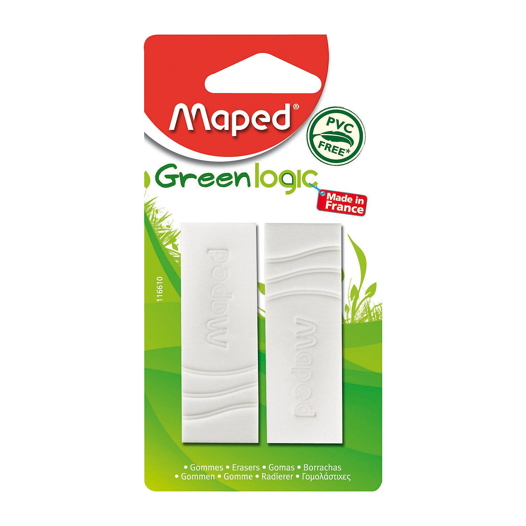 Ластик Maped Green Ljgic 2 шт.Чертежные принадлежности<br>Мягкий ластик Green Logic. В наборе 2 штуки. Без ПВХ и фталатов. Безопасно для детей и людей с аллергией.<br><br>Ширина мм: 19<br>Глубина мм: 65<br>Высота мм: 125<br>Вес г: 41<br>Возраст от месяцев: 36<br>Возраст до месяцев: 2147483647<br>Пол: Унисекс<br>Возраст: Детский<br>SKU: 7065311