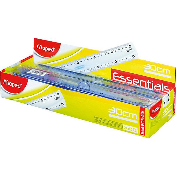 Линейка с держателем Maped Essentials, 30 смЧертежные принадлежности<br>Характеристики:<br><br>• возраст: от 6 лет<br>• длина линейки: 30 см.<br>• материал: пластик<br>• цвет: прозрачный<br><br>Линейка Essentials эргономичной формы с держателем идеально подходит для детской руки. Высококачественная маркировка, деления нанесены с использованием ультрафиолетовых чернил для оптимальной стойкости. Легкочитаемая шкала: лучшая видимость нулевой отметки, выделены каждые 5 см.<br><br>MAPED Линейку 30 см с держателем Essentials можно купить в нашем интернет-магазине.<br>Ширина мм: 14; Глубина мм: 40; Высота мм: 368; Вес г: 29; Возраст от месяцев: 72; Возраст до месяцев: 2147483647; Пол: Унисекс; Возраст: Детский; SKU: 7065312;