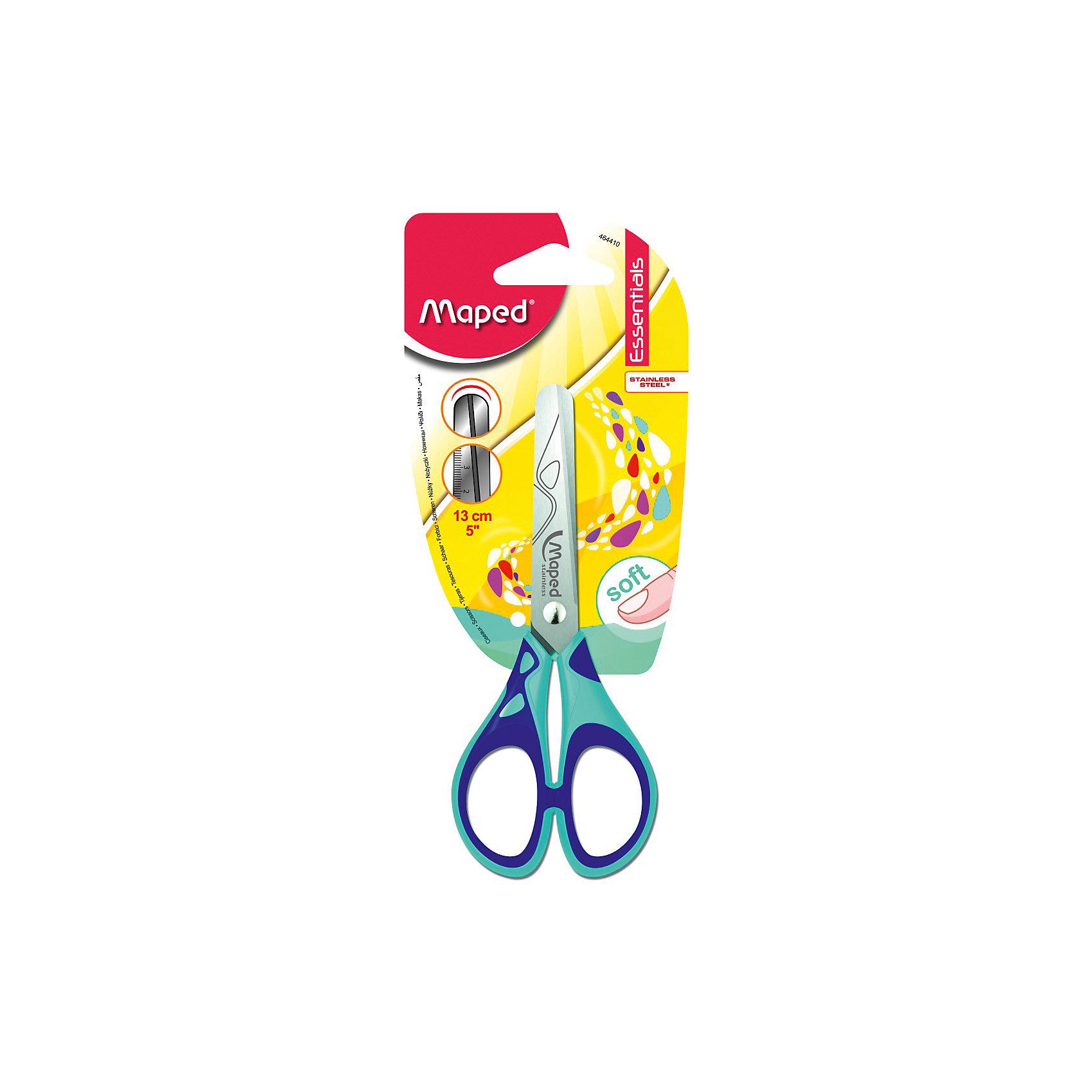 Ножницы симметричные Maped Essentials Soft, 13 смШкольные аксессуары<br>Характеристики:<br><br>• возраст: от 5 лет<br>• материал: нержавеющая сталь, пластик<br>• длина ножниц: 13 см.<br>• форма лезвий: закругленная<br>• вид колец: симметричные<br>• лезвия: безопасные, с линейкой<br><br>Ножницы Essentials Soft с симметричными прорезиненными кольцами и безопасными закругленными концами лезвий идеально подходят для использования детьми в школе и дома. Лезвия ножниц выполнены из нержавеющей стали. На лезвия нанесена маркировка в сантиметрах.<br><br>MAPED Ножницы 13 см симметричные с прорезиненными ручками Essentials Soft можно купить в нашем интернет-магазине.<br><br>Ширина мм: 9<br>Глубина мм: 185<br>Высота мм: 75<br>Вес г: 27<br>Возраст от месяцев: 60<br>Возраст до месяцев: 2147483647<br>Пол: Унисекс<br>Возраст: Детский<br>SKU: 7065317
