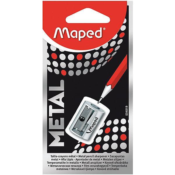 Точилка Maped Satellite, металлическая, 1 отверстиеКанцтовары для первоклассников<br>Характеристики:<br><br>• возраст: от 3 лет<br>• количество отверстий: 1<br>• цвет: серебристый<br>• материал корпуса: металл<br>• материал лезвия: металл<br>• размер упаковки: 12,5х6,5х1,4 см.<br><br>Металлическая точилка Satellite без контейнера имеет одно отверстие со стальным лезвием. Она предназначена для заточки карандашей стандартного размера. Точилка легко поместится в любой пенал.<br><br>MAPED Точилку металлическую с 1 диаметром Satellite можно купить в нашем интернет-магазине.<br>Ширина мм: 14; Глубина мм: 65; Высота мм: 125; Вес г: 20; Возраст от месяцев: 36; Возраст до месяцев: 2147483647; Пол: Унисекс; Возраст: Детский; SKU: 7065324;