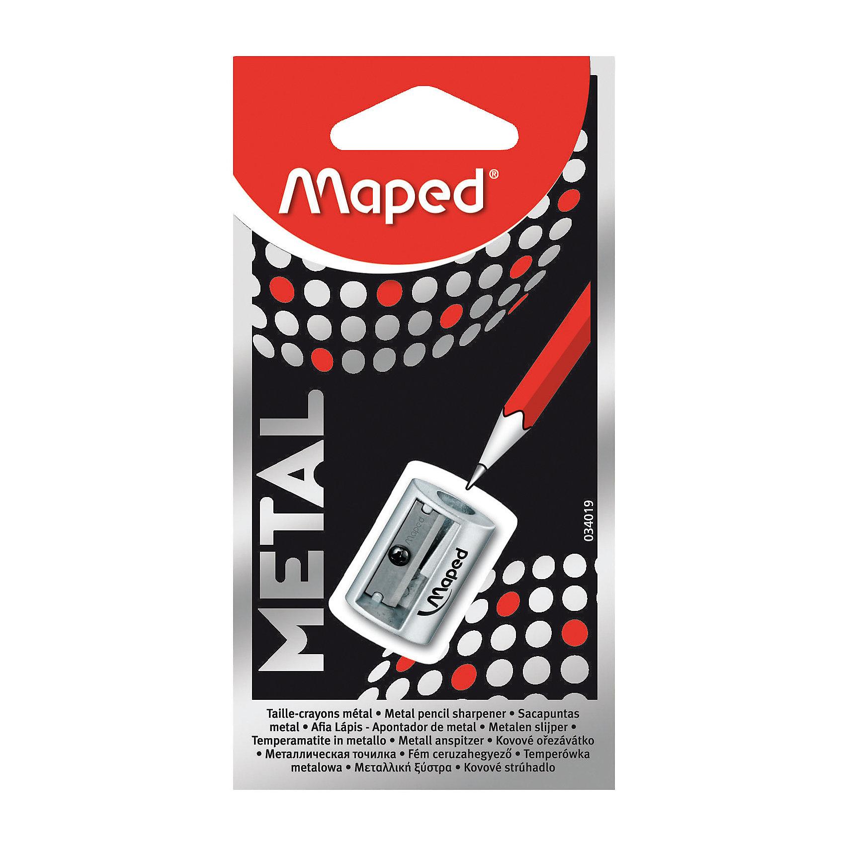 Точилка Maped Satellite, металлическая, 1 отверстиеПисьменные принадлежности<br>Характеристики:<br><br>• возраст: от 3 лет<br>• количество отверстий: 1<br>• цвет: серебристый<br>• материал корпуса: металл<br>• материал лезвия: металл<br>• размер упаковки: 12,5х6,5х1,4 см.<br><br>Металлическая точилка Satellite без контейнера имеет одно отверстие со стальным лезвием. Она предназначена для заточки карандашей стандартного размера. Точилка легко поместится в любой пенал.<br><br>MAPED Точилку металлическую с 1 диаметром Satellite можно купить в нашем интернет-магазине.<br><br>Ширина мм: 14<br>Глубина мм: 65<br>Высота мм: 125<br>Вес г: 20<br>Возраст от месяцев: 36<br>Возраст до месяцев: 2147483647<br>Пол: Унисекс<br>Возраст: Детский<br>SKU: 7065324