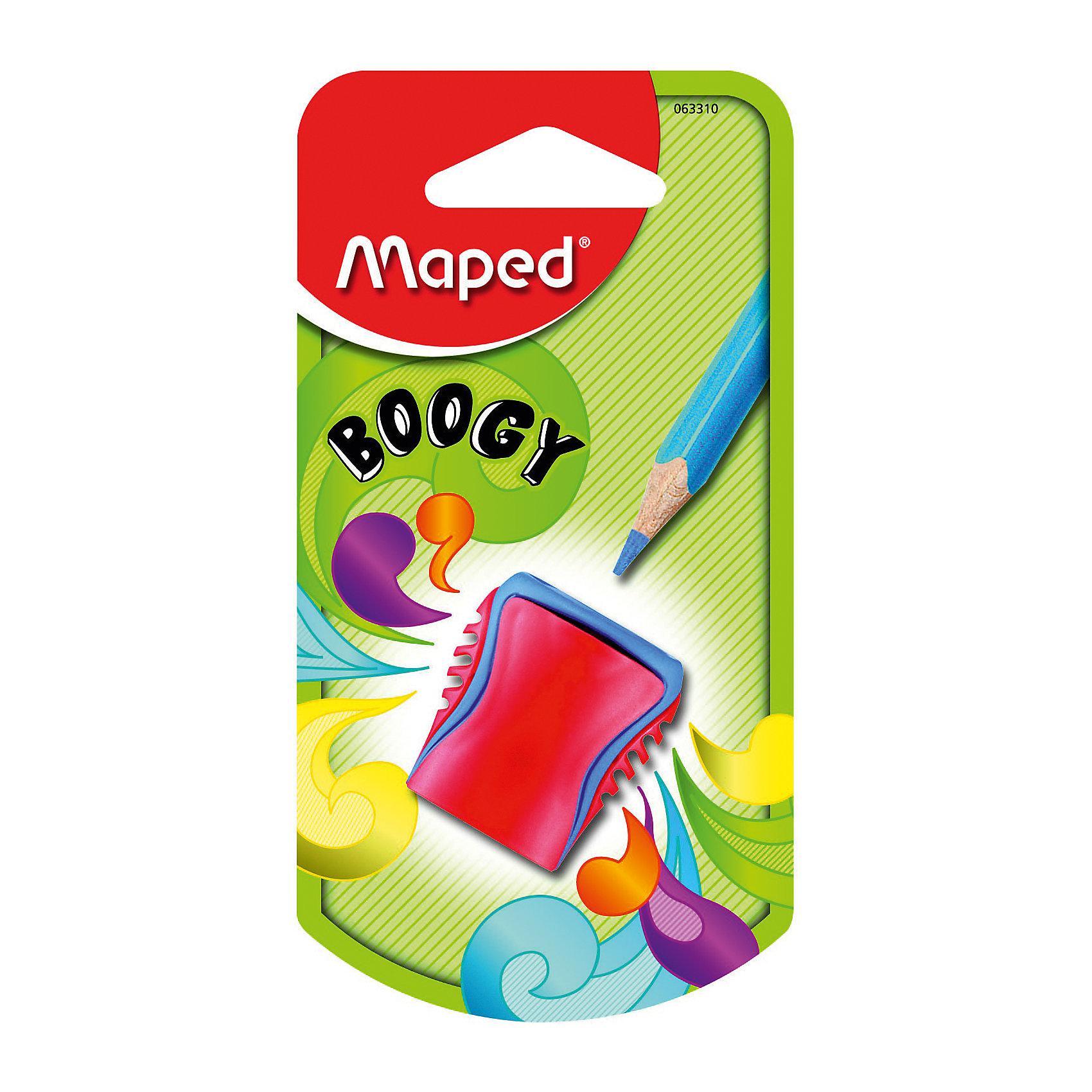 Точилка Maped Boogy, пластиковая, 1 отверстиеПисьменные принадлежности<br>Точилка пластиковая с 1 диаметром BOOGY. Яркий и современный дизайн. Подходит для пеналов. Идеально для общеобразовательных учреждений.<br><br>Ширина мм: 24<br>Глубина мм: 65<br>Высота мм: 125<br>Вес г: 7<br>Возраст от месяцев: 36<br>Возраст до месяцев: 2147483647<br>Пол: Унисекс<br>Возраст: Детский<br>SKU: 7065325