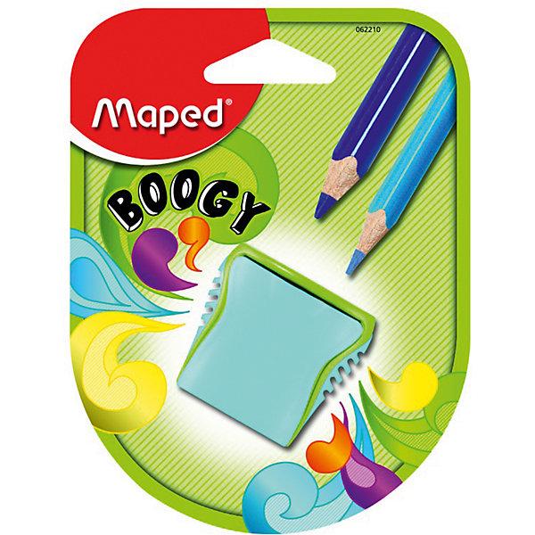 Точилка Maped Boogy, пластиковая 2 отверстияКанцтовары для первоклассников<br>Характеристики:<br><br>• возраст: от 3 лет<br>• количество отверстий: 2<br>• материал корпуса: пластик<br>• материал лезвия: металл<br>• размер: 3,5x2,5x4 см.<br><br>Точилка «Boogy» с рифленой областью обхвата имеет два отверстия разного диаметра со стальными лезвиями. Она предназначена для заточки цветных и простых карандашей. Корпус точилки изготовлен из ударопрочного пластика. Контейнер для сбора стружки неотделим от точилки, что исключает его потерю.<br><br>MAPED Точилку пластиковую, 2 отверстия Boogy можно купить в нашем интернет-магазине.<br><br>Ширина мм: 125<br>Глубина мм: 95<br>Высота мм: 30<br>Вес г: 12<br>Возраст от месяцев: 36<br>Возраст до месяцев: 2147483647<br>Пол: Унисекс<br>Возраст: Детский<br>SKU: 7065327
