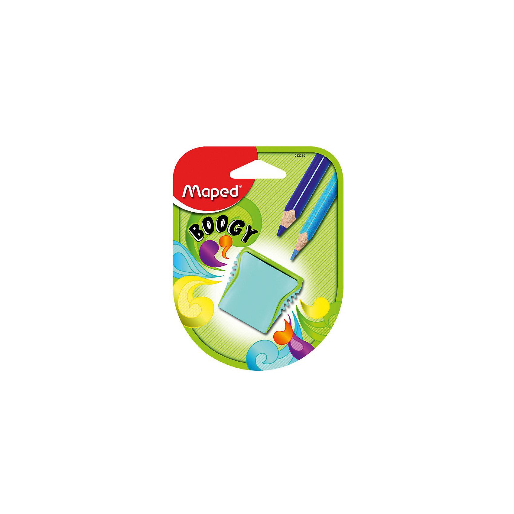 Точилка Maped Boogy, пластиковая 2 отверстияПисьменные принадлежности<br>Характеристики:<br><br>• возраст: от 3 лет<br>• количество отверстий: 2<br>• материал корпуса: пластик<br>• материал лезвия: металл<br>• размер: 3,5x2,5x4 см.<br><br>Точилка «Boogy» с рифленой областью обхвата имеет два отверстия разного диаметра со стальными лезвиями. Она предназначена для заточки цветных и простых карандашей. Корпус точилки изготовлен из ударопрочного пластика. Контейнер для сбора стружки неотделим от точилки, что исключает его потерю.<br><br>MAPED Точилку пластиковую, 2 отверстия Boogy можно купить в нашем интернет-магазине.<br><br>Ширина мм: 125<br>Глубина мм: 95<br>Высота мм: 30<br>Вес г: 12<br>Возраст от месяцев: 36<br>Возраст до месяцев: 2147483647<br>Пол: Унисекс<br>Возраст: Детский<br>SKU: 7065327