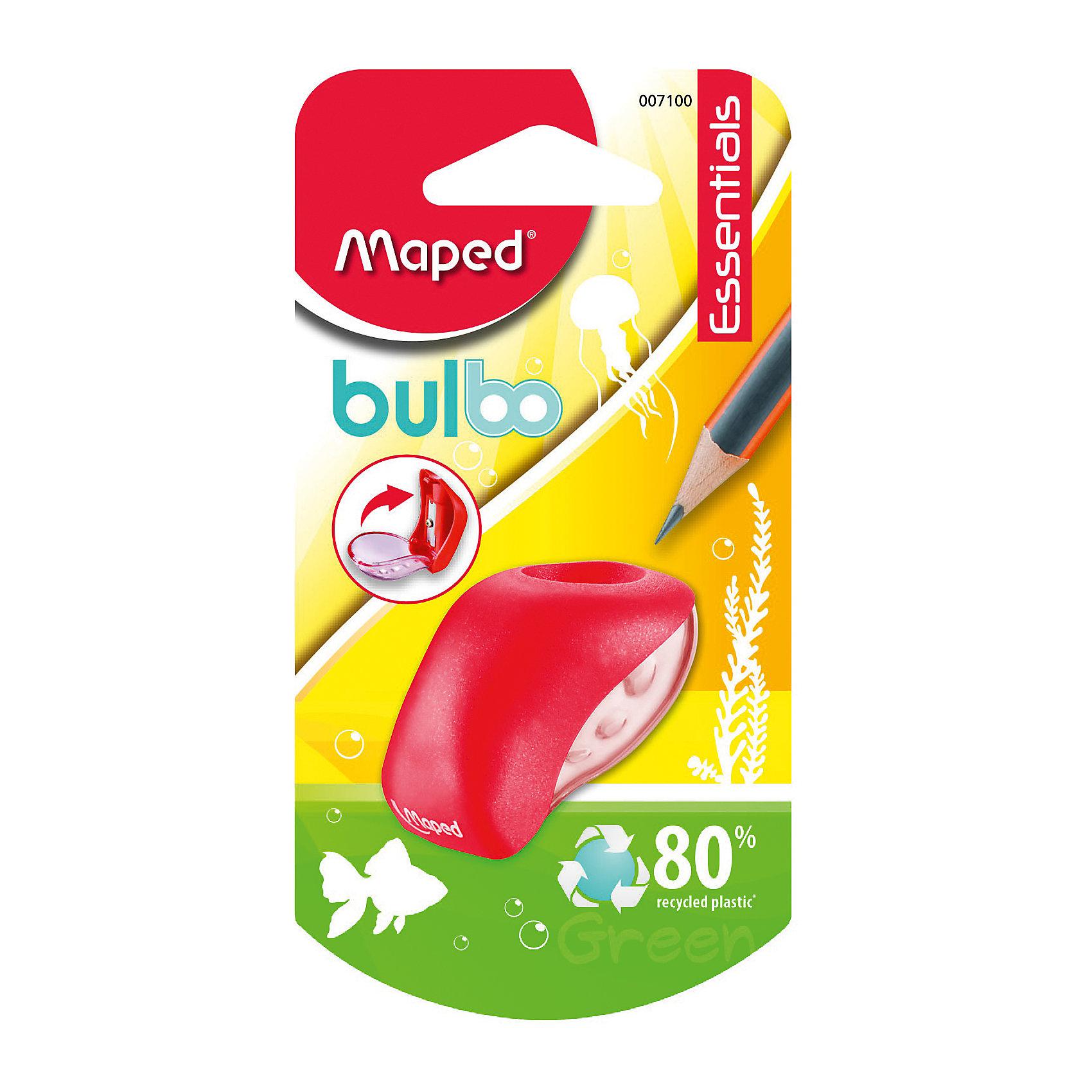 Точилка Maped Buldo, пластиковая 1 отверстиеПисьменные принадлежности<br>Характеристики:<br><br>• возраст: от 3 лет<br>• количество отверстий: 1<br>• материал корпуса: пластик<br>• материал лезвия: металл<br>• размер: 5x3 см.<br><br>Точилка «Bulbo» с одним отверстием предназначена для заточки карандашей стандартного размера. Острое стальное лезвие обеспечивает высококачественную и точную заточку. Карандаш затачивается легко и аккуратно, а опилки после заточки остаются в прозрачном контейнере для сбора стружки. Корпус точилки изготовлен из ударопрочного пластика.<br><br>MAPED Точилку пластиковую с 1 диаметром Bulbo можно купить в нашем интернет-магазине.<br><br>Ширина мм: 30<br>Глубина мм: 65<br>Высота мм: 125<br>Вес г: 8<br>Возраст от месяцев: 36<br>Возраст до месяцев: 2147483647<br>Пол: Унисекс<br>Возраст: Детский<br>SKU: 7065328