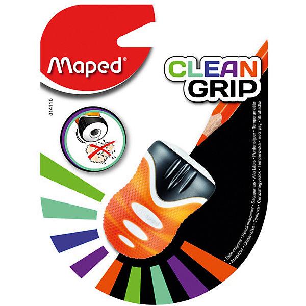 Точилка Maped Clean Grip, пластиковая 1 отверстиеКанцтовары для первоклассников<br>Характеристики:<br><br>• возраст: от 3 лет<br>• количество отверстий: 1<br>• материал корпуса: пластик<br>• материал лезвия: металл<br>• размер: 5x3х3 см.<br><br>Точилка «Clean Grip» с мягкой зоной обхвата предназначена для заточки карандашей стандартного размера. Острое стальное лезвие обеспечивает высококачественную и точную заточку. Карандаш затачивается легко и аккуратно, а опилки после заточки остаются в контейнере для сбора стружки.Точилка имеет одно отверстие, которое оснащено защитной «шторкой», открывающейся нажатием карандаша.<br><br>MAPED Точилку пластиковую с 1 диаметром Clean Grip можно купить в нашем интернет-магазине.<br>Ширина мм: 36; Глубина мм: 95; Высота мм: 125; Вес г: 17; Возраст от месяцев: 36; Возраст до месяцев: 2147483647; Пол: Унисекс; Возраст: Детский; SKU: 7065329;