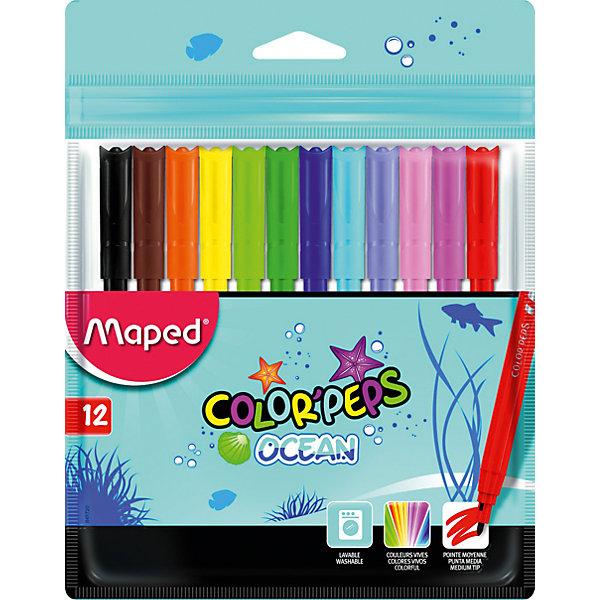 Фломастеры Maped, 12 цветовФломастеры<br>Характеристики:<br><br>• возраст: от 3 лет<br>• в наборе: 12 фломастеров<br>• количество цветов: 12<br>• материал корпуса: пластик<br>• толщина линии: 2 мм.<br>• размер упаковки: 17,7х13,6х1,1 см.<br><br>Фломастерами Color Peps Ocean с заблокированным пишущим узлом предназначены для тонкого письма и раскрашивания. В наборе 12 фломастеров, ярких насыщенных цветов. Фломастеры смываются практически со всех видов ткани. Соответствуют действующим российским и европейским стандартам качества игрушек. Колпачок вентилируемый.<br><br>MAPED Набор фломастеров 12 цветов можно купить в нашем интернет-магазине.<br>Ширина мм: 177; Глубина мм: 11; Высота мм: 136; Вес г: 75; Возраст от месяцев: 36; Возраст до месяцев: 2147483647; Пол: Унисекс; Возраст: Детский; SKU: 7065334;