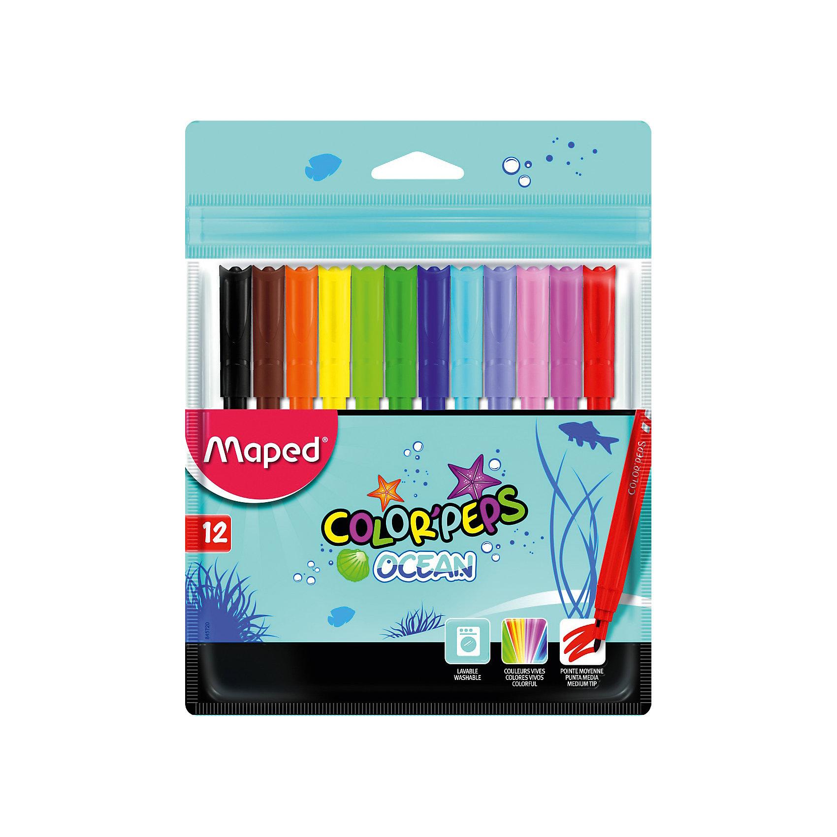 Фломастеры Maped, 12 цветовФломастеры<br>Фломастеры серии COLORPEPS OCEAN с заблокированным пишущим узлом - суперсмываемые в пакете с подвесом. В наборе 12 штук. Яркие и насыщенные цвета. Бюджетное предложение. Смываются практически со всех видов ткани. Соответствуют действующим российским и европейским стандартам качества игрушек. Вентилируемый коплачок. Идеальны для раскрашивания, рисования и скетчей.<br><br>Ширина мм: 177<br>Глубина мм: 11<br>Высота мм: 136<br>Вес г: 75<br>Возраст от месяцев: 36<br>Возраст до месяцев: 2147483647<br>Пол: Унисекс<br>Возраст: Детский<br>SKU: 7065334