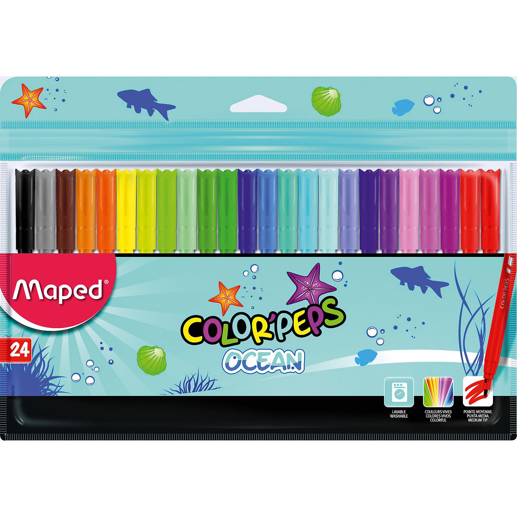 Фломастеры Maped, 24 цветаФломастеры<br>Фломастеры серии COLORPEPS OCEAN с заблокированным пишущим узлом - суперсмываемые в пакете с подвесом. В наборе 24 штуки. Яркие и насыщенные цвета. Бюджетное предложение. Смываются практически со всех видов ткани. Соответствуют действующим российским и европейским стандартам качества игрушек. Вентилируемый колпачок. Идеальны для раскрашивания, рисования и скетчей.<br><br>Ширина мм: 9<br>Глубина мм: 269<br>Высота мм: 177<br>Вес г: 147<br>Возраст от месяцев: 36<br>Возраст до месяцев: 2147483647<br>Пол: Унисекс<br>Возраст: Детский<br>SKU: 7065335