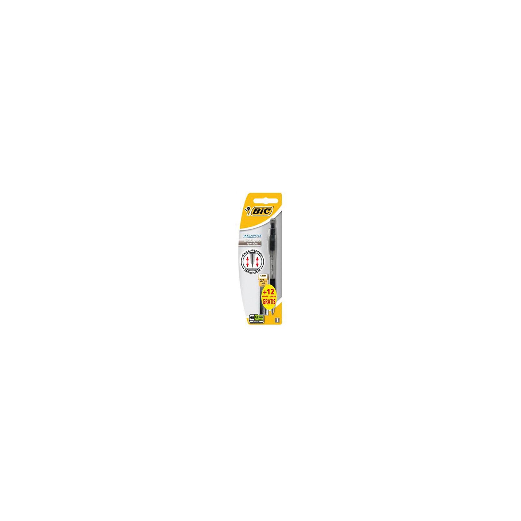 Карандаш механический Bic Atlantic, чернографитный со сменными грифелямиПисьменные принадлежности<br>Характеристики:<br><br>• возраст: от 5 лет<br>• в наборе: чернографитовый механический карандаш, 12 грифелей<br>• длина карандаша: 15 см.<br>• толщина грифеля: 0,7 мм.<br>• твердость: НВ<br>• материал корпуса: пластик<br>• упаковка: блистер<br><br>Механический карандаш Bic «Atlantis» со сменными грифелями будет незаменимым помощником в офисе и дома. Мягкий S-образный грип обеспечит высокую степень комфорта. У карандаша прочный металлический зажим и конусообразный носик. Механизм долгослужаший: 5 000 нажатий с одинаково высокой эффективностью. В кнопку встроен ластик для графита.<br><br>BIC Карандаш чернографитовый механический Atlantis + 12 грифелей, блистер можно купить в нашем интернет-магазине.<br><br>Ширина мм: 14<br>Глубина мм: 65<br>Высота мм: 197<br>Вес г: 22<br>Возраст от месяцев: 60<br>Возраст до месяцев: 2147483647<br>Пол: Унисекс<br>Возраст: Детский<br>SKU: 7065338