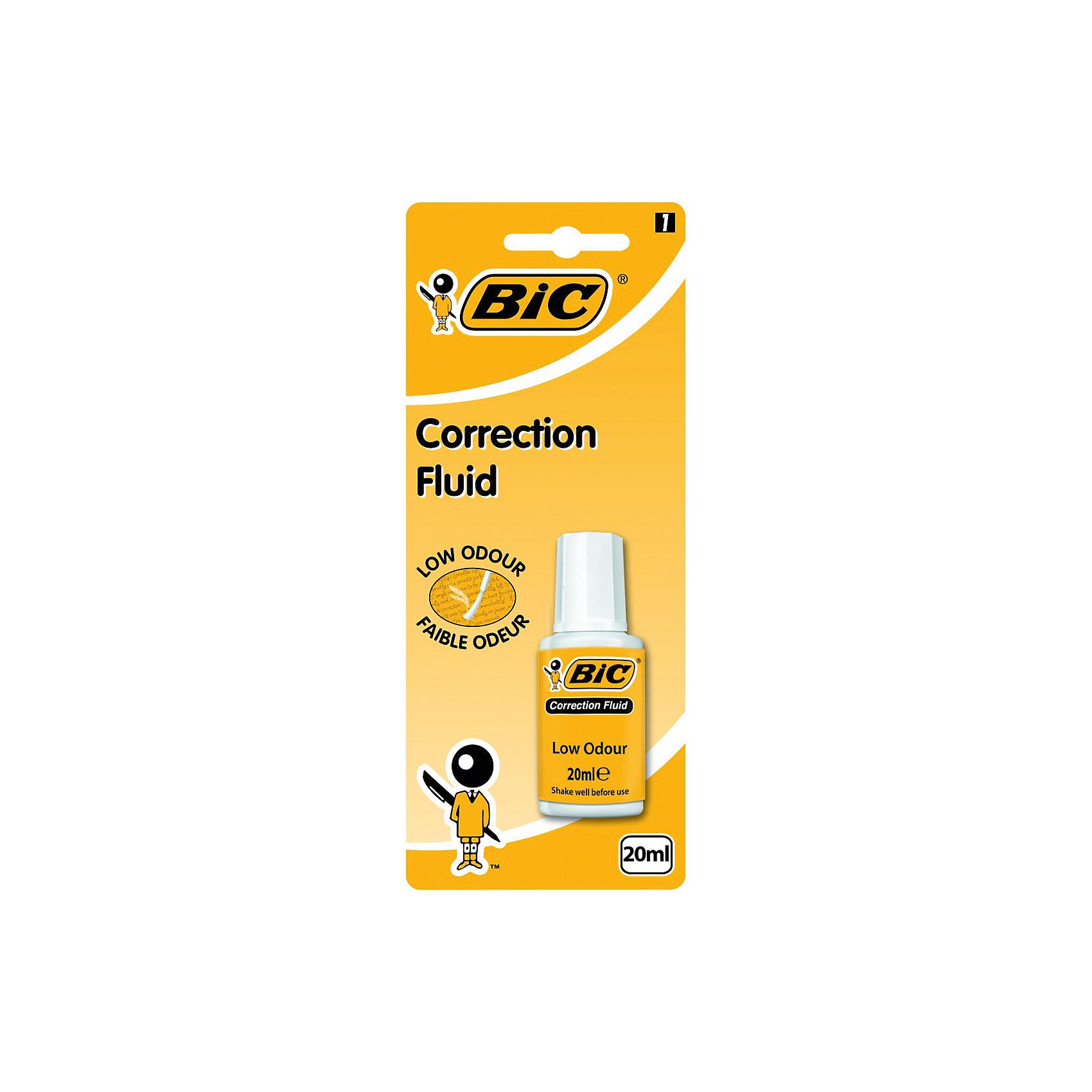 Корректирующая жидкость Bic, 20 млШкольные аксессуары<br>Характеристики:<br><br>• возраст: от 5 лет<br>• объем: 20 мл.<br>• упаковка: блистер<br><br>Корректирующая жидкость на водной основе BIC. Без резкого запаха. Корректура с удобной кисточкой-аппликатором. Очень легко и удобно корректировать надписи на любых видах бумаги. Быстро сохнет и позволяет моментально наносить новые надписи. Незаменимый помощник в офисе, дома и школе.<br><br>BIC Корректирующую жидкость 20 мл, блистер можно купить в нашем интернет-магазине.<br><br>Ширина мм: 29<br>Глубина мм: 80<br>Высота мм: 197<br>Вес г: 59<br>Возраст от месяцев: 60<br>Возраст до месяцев: 2147483647<br>Пол: Унисекс<br>Возраст: Детский<br>SKU: 7065340