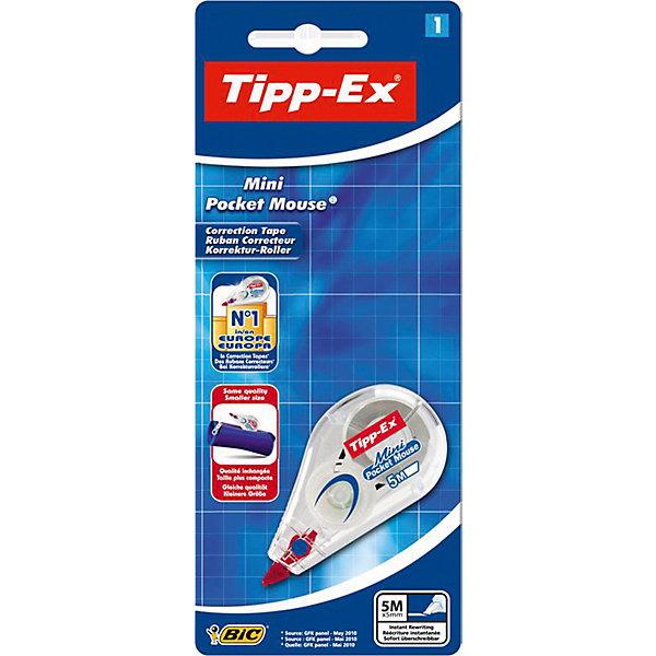 Корректирующая лента Bic Tipp-Ex Mini Pocket Mouse, 5 мШкольные аксессуары<br>Характеристики:<br><br>• возраст: от 5 лет<br>• ширина ленты: 5 мм.<br>• длина ленты: 5 м.<br>• материал корпуса: пластик<br>• упаковка: блистер<br>• размер упаковки: 20х8х3 см.<br><br>Корректирующая лента Bic «Tipp-Ex Mini Pocket Mouse» - ультракомпактная корректура нервущейся лентой на основе пластика. Корректирующая лента Tipp-ex Mini Pocket Mouse мгновенно и аккуратно корректирует любой тип письма, обеспечивает высокую степень покрытия. Не требует высыхания – позволяет сразу писать по исправленному.  Удобный прозрачный корпус: видимый уровень запаса ленты. Практичный маленький размер.<br><br>BIC Корректирующую ленту Tipp-Ex Mini Pocket Mouse, 5 м. х 5 мм, блистер можно купить в нашем интернет-магазине.<br>Ширина мм: 19; Глубина мм: 80; Высота мм: 197; Вес г: 20; Возраст от месяцев: 60; Возраст до месяцев: 2147483647; Пол: Унисекс; Возраст: Детский; SKU: 7065344;