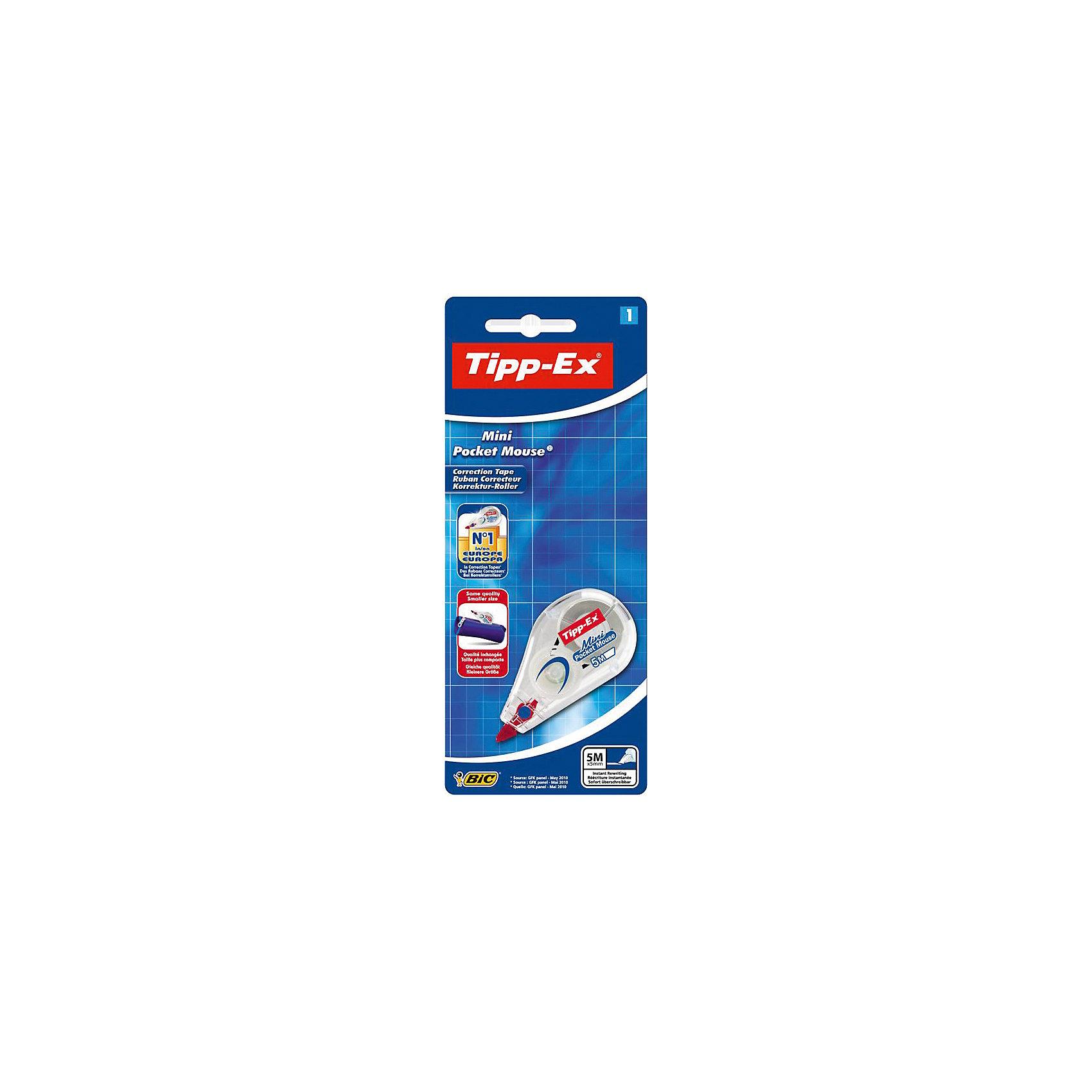 Корректирующая лента Bic Tipp-Ex Mini Pocket Mouse, 5 мШкольные аксессуары<br>Характеристики:<br><br>• возраст: от 5 лет<br>• ширина ленты: 5 мм.<br>• длина ленты: 5 м.<br>• материал корпуса: пластик<br>• упаковка: блистер<br>• размер упаковки: 20х8х3 см.<br><br>Корректирующая лента Bic «Tipp-Ex Mini Pocket Mouse» - ультракомпактная корректура нервущейся лентой на основе пластика. Корректирующая лента Tipp-ex Mini Pocket Mouse мгновенно и аккуратно корректирует любой тип письма, обеспечивает высокую степень покрытия. Не требует высыхания – позволяет сразу писать по исправленному.  Удобный прозрачный корпус: видимый уровень запаса ленты. Практичный маленький размер.<br><br>BIC Корректирующую ленту Tipp-Ex Mini Pocket Mouse, 5 м. х 5 мм, блистер можно купить в нашем интернет-магазине.<br><br>Ширина мм: 19<br>Глубина мм: 80<br>Высота мм: 197<br>Вес г: 20<br>Возраст от месяцев: 60<br>Возраст до месяцев: 2147483647<br>Пол: Унисекс<br>Возраст: Детский<br>SKU: 7065344