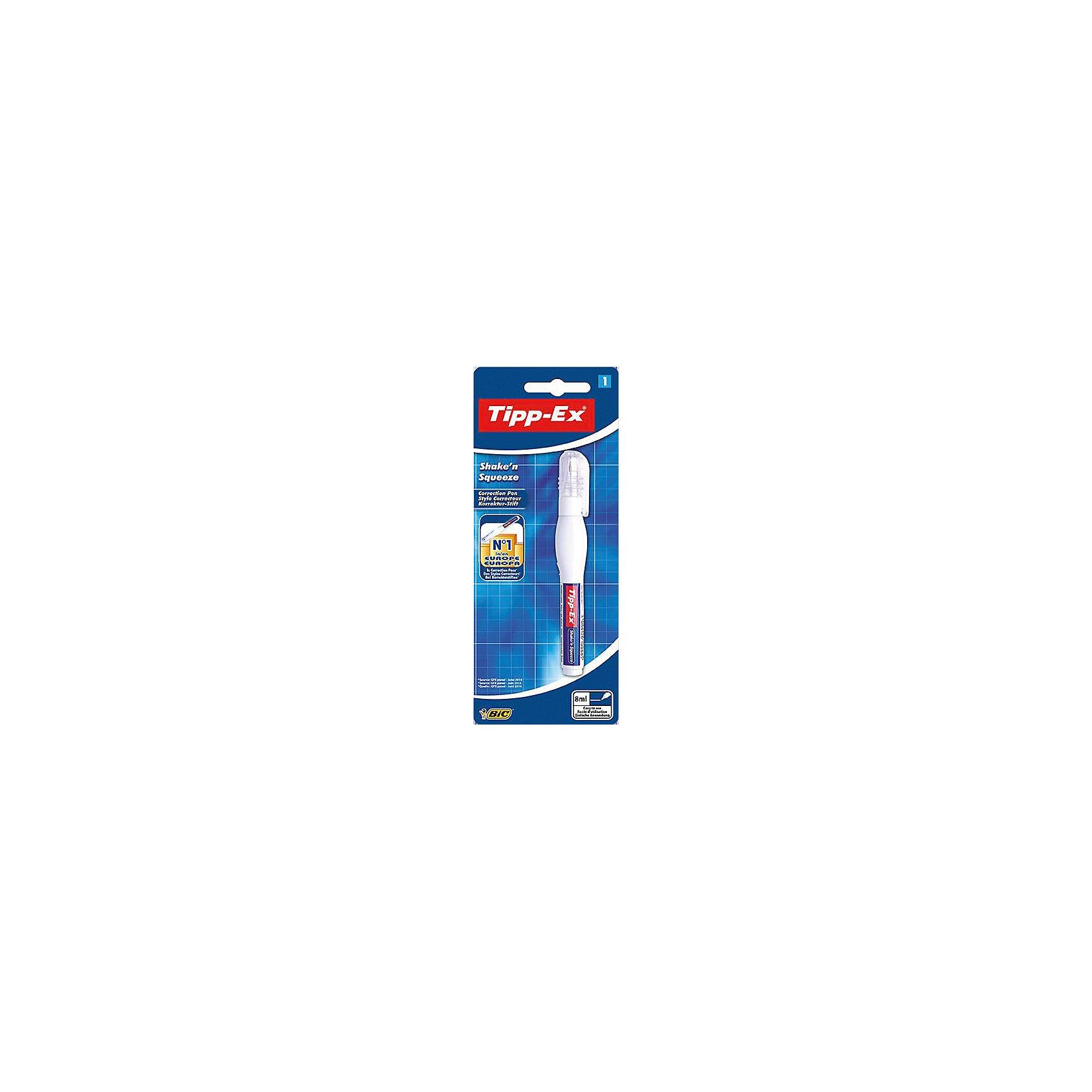 Корректирующая ручка Bic Tipp-Ex Shake n Squeeze, 8 млШкольные аксессуары<br>Характеристики:<br><br>• возраст: от 5 лет<br>• объем: 8 мл.<br>• материал корпуса: пластик<br>• упаковка: блистер<br>• размер упаковки: 20х8х3 см.<br><br>Корректирующая ручка Tipp-Ex Shake n Squeeze имеет удобную форму. Она отлично корректирует надписи. Высококачественная корректирующая жидкость быстро сохнет и хорошо покрывает текст. Мягкий корпус обеспечивает оптимальную подачу жидкости путём нажатия. Благодаря тонкому металлическому наконечнику жидкость наносится точно и равномерно. Подходит для любого типа бумаги.<br><br>BIC Корректирующую ручку Tipp-Ex Shake n Squeeze, 8 мл, блистер можно купить в нашем интернет-магазине.<br><br>Ширина мм: 17<br>Глубина мм: 80<br>Высота мм: 197<br>Вес г: 32<br>Возраст от месяцев: 60<br>Возраст до месяцев: 2147483647<br>Пол: Унисекс<br>Возраст: Детский<br>SKU: 7065346