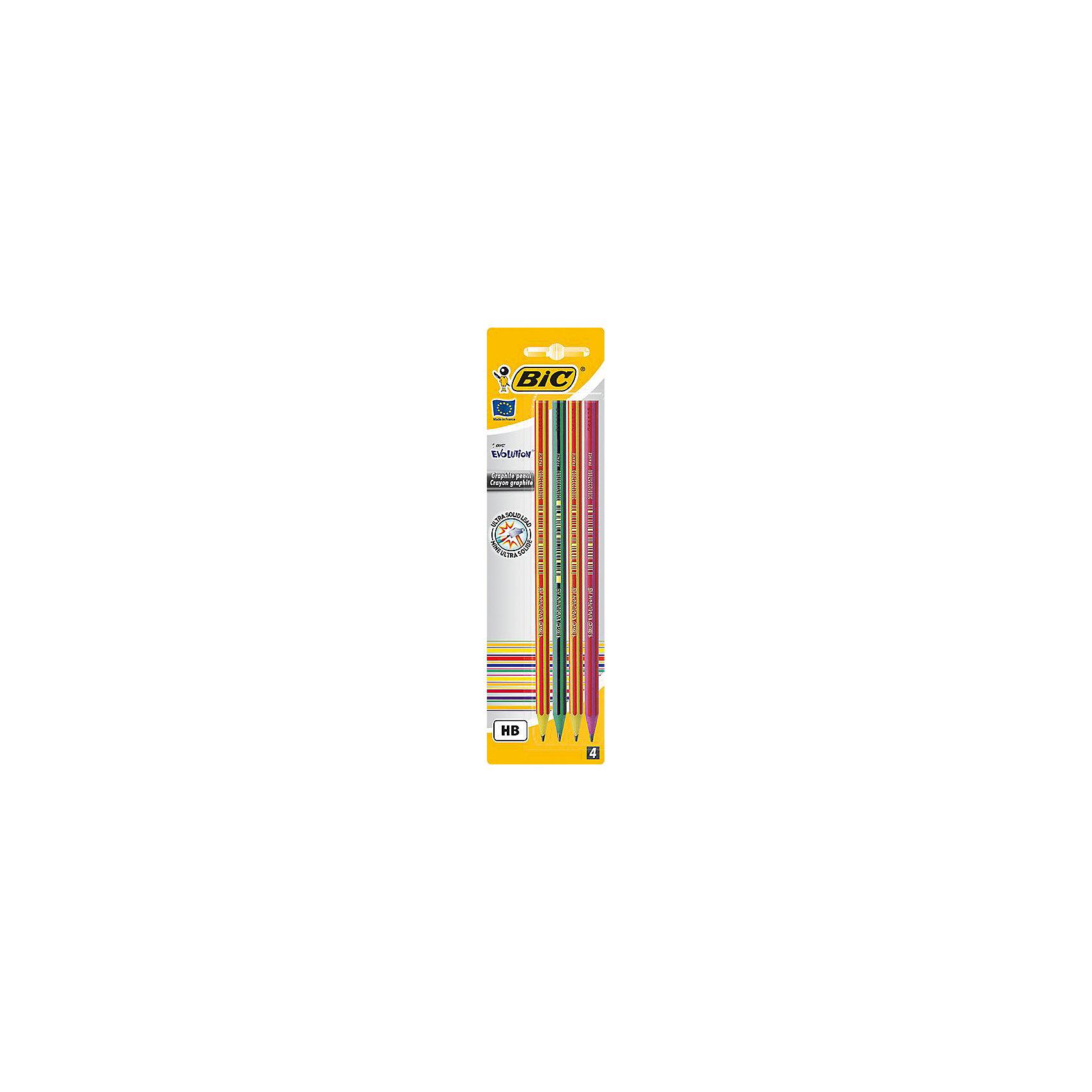 Карандаши чернографитные Bic Evolution 646, 4 штПисьменные принадлежности<br>Характеристики:<br><br>• возраст: от 5 лет<br>• в наборе: карандаши чернографитовые 4 шт.<br>• диаметр грифеля: 2 мм.<br>• твердость: НВ<br>• материал корпуса: пластик<br>• упаковка: блистер<br>• размер упаковки: 25х6х2 см.<br><br>Набор из четырех шестигранных чернографитовых карандашей. Корпус карандашей выполнен из пластика. Карандаши обладают высокой степенью устойчивости к излому, ударопрочным грифелем и ярким дизайном.<br><br>BIC Набор карандашей чернографитовых Evolution 646, 4 шт. можно купить в нашем интернет-магазине.<br><br>Ширина мм: 9<br>Глубина мм: 65<br>Высота мм: 240<br>Вес г: 19<br>Возраст от месяцев: 60<br>Возраст до месяцев: 2147483647<br>Пол: Унисекс<br>Возраст: Детский<br>SKU: 7065348