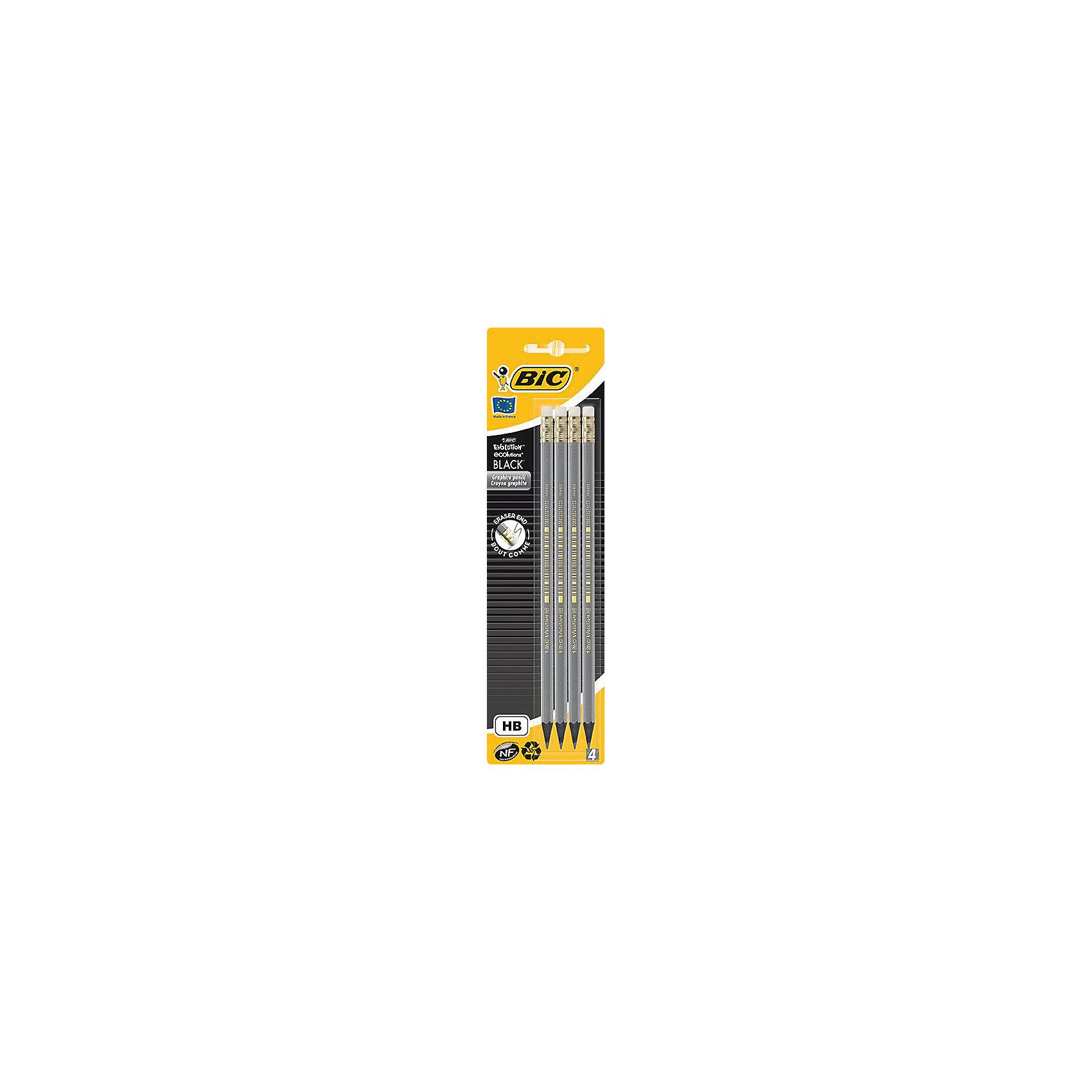 Карандаши чернографитные Bic Evolution Black, 4 шт + ластикПисьменные принадлежности<br>Характеристики:<br><br>• возраст: от 5 лет<br>• в наборе: карандаши чернографитовые 4 шт.<br>• диаметр грифеля: 2 мм.<br>• твердость: НВ<br>• материал корпуса: пластик<br>• упаковка: блистер<br>• размер упаковки: 25х6х2 см.<br><br>Набор из четырех шестигранных чернографитовых карандашей с ластиками. Корпус карандашей выполнен из пластика. Карандаши обладают высокой степенью устойчивости к излому, ударопрочным грифелем и стильным дизайном.<br><br>BIC Набор карандашей чернографитовых+ластик Evolution Black, 4 шт. можно купить в нашем интернет-магазине.<br><br>Ширина мм: 9<br>Глубина мм: 65<br>Высота мм: 240<br>Вес г: 32<br>Возраст от месяцев: 60<br>Возраст до месяцев: 2147483647<br>Пол: Унисекс<br>Возраст: Детский<br>SKU: 7065349