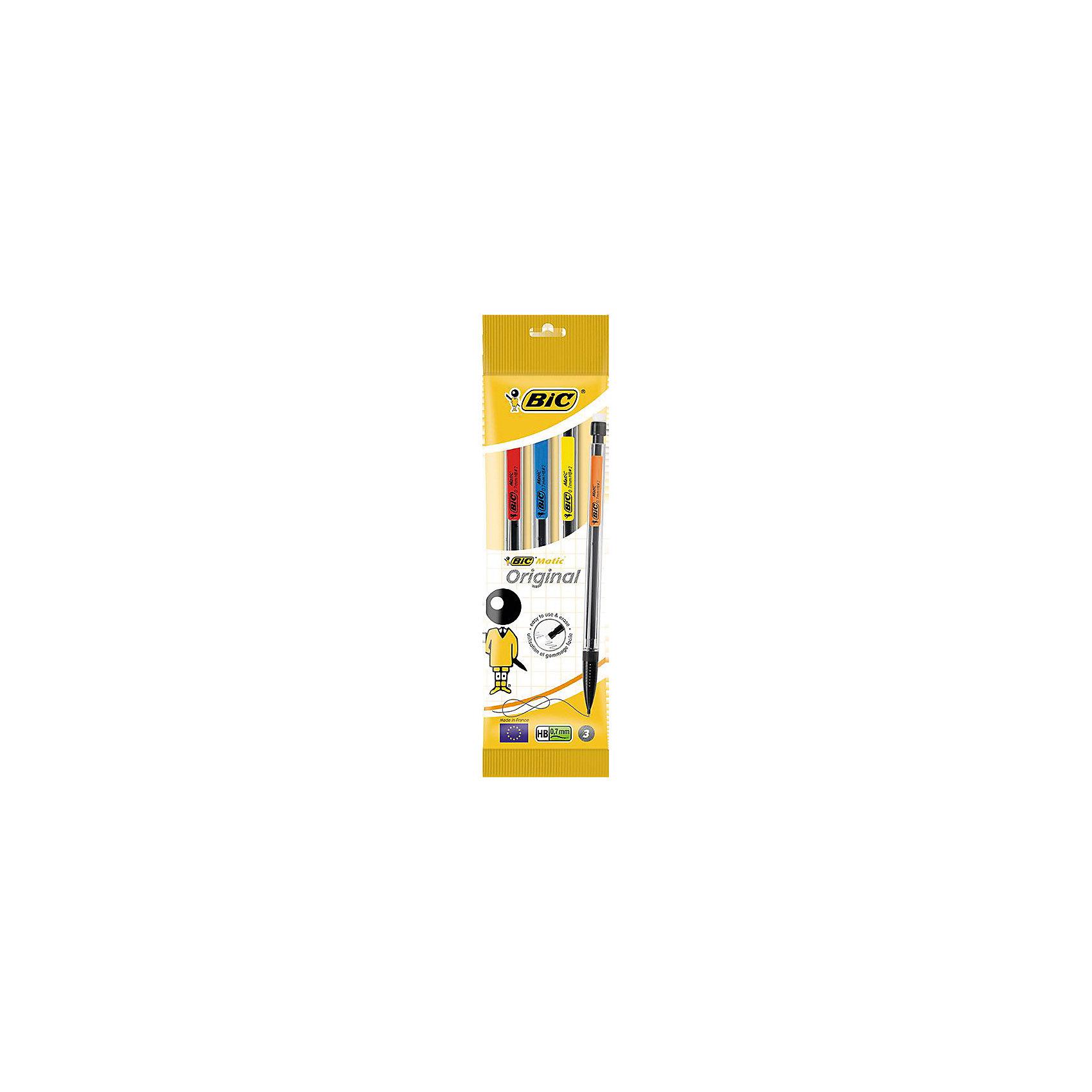 Карандаши черногрфитные Bic Matic, 3 штПисьменные принадлежности<br>Характеристики:<br><br>• возраст: от 5 лет<br>• в наборе: карандаши чернографитовые механические 3 шт.<br>• диаметр грифеля: 0,7 мм.<br>• твердость: НВ<br>• материал корпуса: пластик<br>• упаковка: пакет<br>• размер упаковки: 20,6х4,7х1,1 см.<br><br>Набор из трех механических чернографитовых карандашей с различным цветом корпуса. Карандаши снабжены ластиком и удобным цветным зажимом.<br><br>BIC Набор карандашей чернографитовых Matic, 3 шт. можно купить в нашем интернет-магазине.<br><br>Ширина мм: 11<br>Глубина мм: 47<br>Высота мм: 206<br>Вес г: 18<br>Возраст от месяцев: 60<br>Возраст до месяцев: 2147483647<br>Пол: Унисекс<br>Возраст: Детский<br>SKU: 7065351