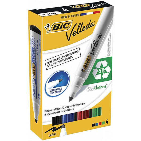 Набор маркеров для доски Bic Velleda, 4 шт 1,5 ммПисьменные принадлежности<br>Характеристики:<br><br>• возраст: от 5 лет<br>• в наборе: четыре маркера для досок<br>• цвета: черный, синий, красный, зеленый.<br>• тип чернил: спиртовые<br>• толщина линии: 1,5 мм.<br>• пишущий узел: круглый<br>• размер упаковки: 14,2х8,6х2,4 см.<br><br>Набор быстросохнущих высококачественных маркеров для досок. Маркеры имеют прочный пишущий узел. Чернила не имеют резкого запаха, радуют яркостью, легко стираются с доски, как сразу, так и спустя несколько дней.<br><br>BIC Набор маркеров для досок Velleda, 1,5 мм, 4 шт.: синий, черный, красный, зеленый можно купить в нашем интернет-магазине.<br>Ширина мм: 24; Глубина мм: 86; Высота мм: 142; Вес г: 92; Возраст от месяцев: 60; Возраст до месяцев: 2147483647; Пол: Унисекс; Возраст: Детский; SKU: 7065353;