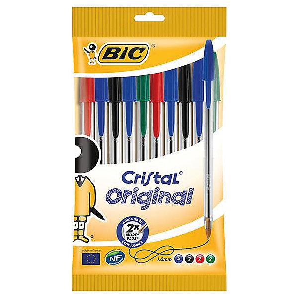 Набор шариковых ручек Bic Cristal, 10 шт 4 цветаПисьменные принадлежности<br>Характеристики:<br><br>• возраст: от 5 лет<br>• в наборе: шариковые ручки 10 шт. (4 синих, 2 черных, 2 красных, 2 зеленых)<br>• корпус: прозрачный пластиковый<br>• толщина линии: 0,4 мм.<br>• упаковка: пакет<br>• размер упаковки: 20х11х1 см.<br><br>Набор из десяти ручек четырех цветов. Шариковая ручка BIC Cristal служит минимум вдвое дольше, чем любая другая аналогичная ручка. Толщина ее корпуса является идеальной для средней человеческой руки.<br><br>BIC Набор ручек шариковых Cristal. 10 шт.,  4 син., 2 черн., 2 крас., 2 зел. можно купить в нашем интернет-магазине.<br><br>Ширина мм: 8<br>Глубина мм: 110<br>Высота мм: 205<br>Вес г: 53<br>Возраст от месяцев: 60<br>Возраст до месяцев: 2147483647<br>Пол: Унисекс<br>Возраст: Детский<br>SKU: 7065356