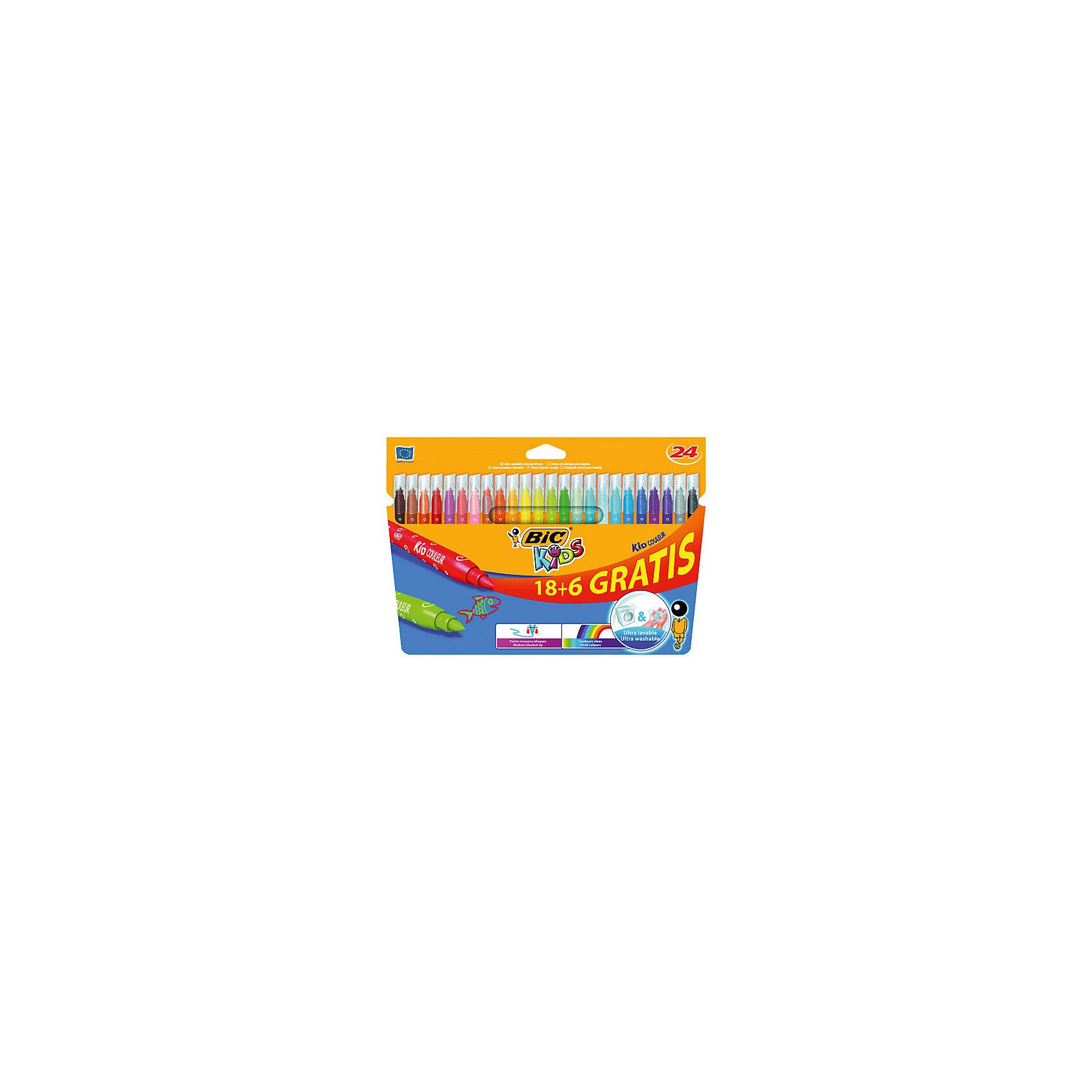 Фломастеры Bic Kid Couleur, 24 цветаФломастеры<br>Характеристики:<br><br>• возраст: от 3 лет<br>• в наборе: 24 фломастера<br>• количество цветов: 24<br>• тип чернил: на водной основе<br>• материал корпуса: пластик<br>• толщина линии: 0,8 мм.<br>• размер упаковки: 26,4х17,8х1,2 см.<br><br>Фломастерами Kid Couleur предназначены для письма и раскрашивания. В наборе 24 фломастера, ярких насыщенных цветов. Чернила на водной основе смываются с большинства тканей. Колпачок вентилируемый.<br><br>BIC Фломастеры 18+6 цветов Kid Couleur можно купить в нашем интернет-магазине.<br><br>Ширина мм: 12<br>Глубина мм: 264<br>Высота мм: 178<br>Вес г: 185<br>Возраст от месяцев: 36<br>Возраст до месяцев: 192<br>Пол: Унисекс<br>Возраст: Детский<br>SKU: 7065362
