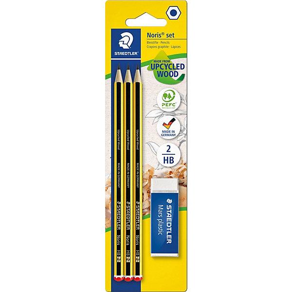 Карандаш чернографитный Staedtler Noris 120, НВ 3 шт с ластикомПисьменные принадлежности<br>Характеристики:<br><br>• возраст: от 5 лет<br>• в наборе: 3 чернографитовых карандаша, ластик Mars plastic<br>• твердость грифеля: НВ<br>• диаметр грифеля: 2 мм.<br>• материал корпуса: дерево<br>• упаковка: блистер<br>• размер упаковки: 23,5х6,6х0,9 см.<br><br>Высококачественные шестигранные чернографитовые карандаши Noris 120 для письма, черчения и набросков на бумаге. Идеальны для школы и офиса. Непревзойденная устойчивость к поломке благодаря специально разработанному составу грифеля и особой проклейке. При производстве используется древесина сертифицированных и специально подготовленных лесов.<br><br>Ластик Mars plastic пекрасно удаляет графит с бумаги и чертежной кальки. Изготовлен из термопластического синтетического каучука, гипоаллергенен.<br><br>STAEDTLER Набор чернографитовых карандашей Noris 120, HB, 3 шт. + ластик можно купить в нашем интернет-магазине.<br><br>Ширина мм: 235<br>Глубина мм: 66<br>Высота мм: 15<br>Вес г: 45<br>Возраст от месяцев: 60<br>Возраст до месяцев: 2147483647<br>Пол: Унисекс<br>Возраст: Детский<br>SKU: 7065365