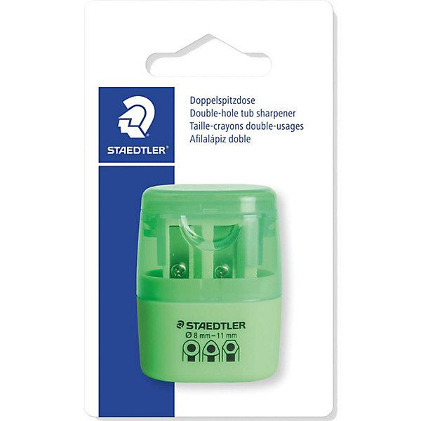 Точилка Staedtler 2 отверстия, зеленый неонПисьменные принадлежности<br>Характеристики:<br><br>• возраст: от 5 лет<br>• количество отверстий: 2<br>• материал: пластик, металл<br>• цвет: неон зелёный<br>• упаковка: блистер<br>• размер упаковки: 10х7х3 см.<br><br>Точилка в пластиковом корпусе на 2 отверстия подходит для чернографитовых стандартных карандашей диаметром до 8,2 мм с углом заточки 23° для четких и аккуратных линий. Также для толстых чернографитовых и цветных карандашей диаметром до 11 мм, угол заточки 30° для широких и ровных линий. Металлическая затачивающая часть. Закрытая конструкция предотвращает высыпание мусора во время заточки. Безопасный крепеж крышки.<br><br>STAEDTLER Точилку в пластиковом корпусе на 2 отверстия, неон зелёный можно купить в нашем интернет-магазине.<br>Ширина мм: 110; Глубина мм: 66; Высота мм: 27; Вес г: 19; Возраст от месяцев: 60; Возраст до месяцев: 2147483647; Пол: Унисекс; Возраст: Детский; SKU: 7065366;