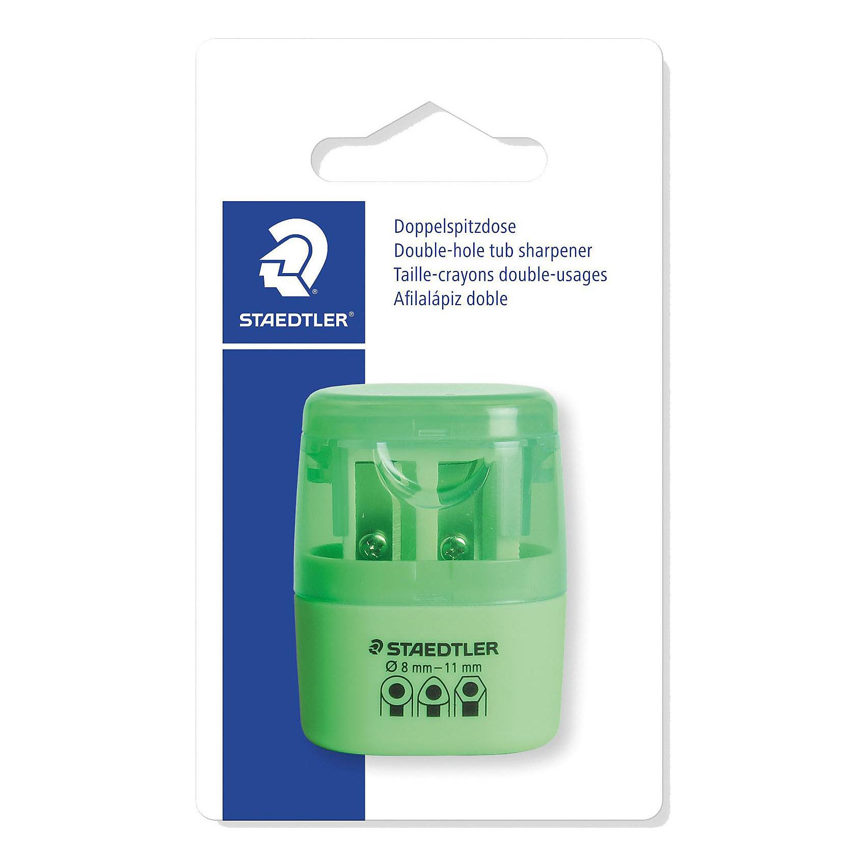 Точилка Staedtler 2 отверстия, зеленый неонПисьменные принадлежности<br>Характеристики:<br><br>• возраст: от 5 лет<br>• количество отверстий: 2<br>• материал: пластик, металл<br>• цвет: неон зелёный<br>• упаковка: блистер<br>• размер упаковки: 10х7х3 см.<br><br>Точилка в пластиковом корпусе на 2 отверстия подходит для чернографитовых стандартных карандашей диаметром до 8,2 мм с углом заточки 23° для четких и аккуратных линий. Также для толстых чернографитовых и цветных карандашей диаметром до 11 мм, угол заточки 30° для широких и ровных линий. Металлическая затачивающая часть. Закрытая конструкция предотвращает высыпание мусора во время заточки. Безопасный крепеж крышки.<br><br>STAEDTLER Точилку в пластиковом корпусе на 2 отверстия, неон зелёный можно купить в нашем интернет-магазине.<br><br>Ширина мм: 110<br>Глубина мм: 66<br>Высота мм: 27<br>Вес г: 19<br>Возраст от месяцев: 60<br>Возраст до месяцев: 2147483647<br>Пол: Унисекс<br>Возраст: Детский<br>SKU: 7065366