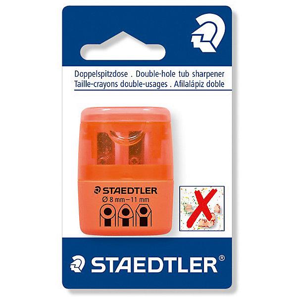 Точилка Staedtler 2 отверстия, оранжевый неонТочилки<br>Характеристики:<br><br>• возраст: от 5 лет<br>• количество отверстий: 2<br>• материал: пластик, металл<br>• цвет: неон оранжевый<br>• упаковка: блистер<br>• размер упаковки: 10х7х3 см.<br><br>Точилка в пластиковом корпусе на 2 отверстия подходит для чернографитовых стандартных карандашей диаметром до 8,2 мм с углом заточки 23° для четких и аккуратных линий. Также для толстых чернографитовых и цветных карандашей диаметром до 11 мм, угол заточки 30° для широких и ровных линий. Металлическая затачивающая часть. Закрытая конструкция предотвращает высыпание мусора во время заточки. Безопасный крепеж крышки.<br><br>STAEDTLER Точилку в пластиковом корпусе на 2 отверстия, неон оранжевый можно купить в нашем интернет-магазине.<br>Ширина мм: 110; Глубина мм: 66; Высота мм: 27; Вес г: 19; Возраст от месяцев: 60; Возраст до месяцев: 2147483647; Пол: Унисекс; Возраст: Детский; SKU: 7065367;