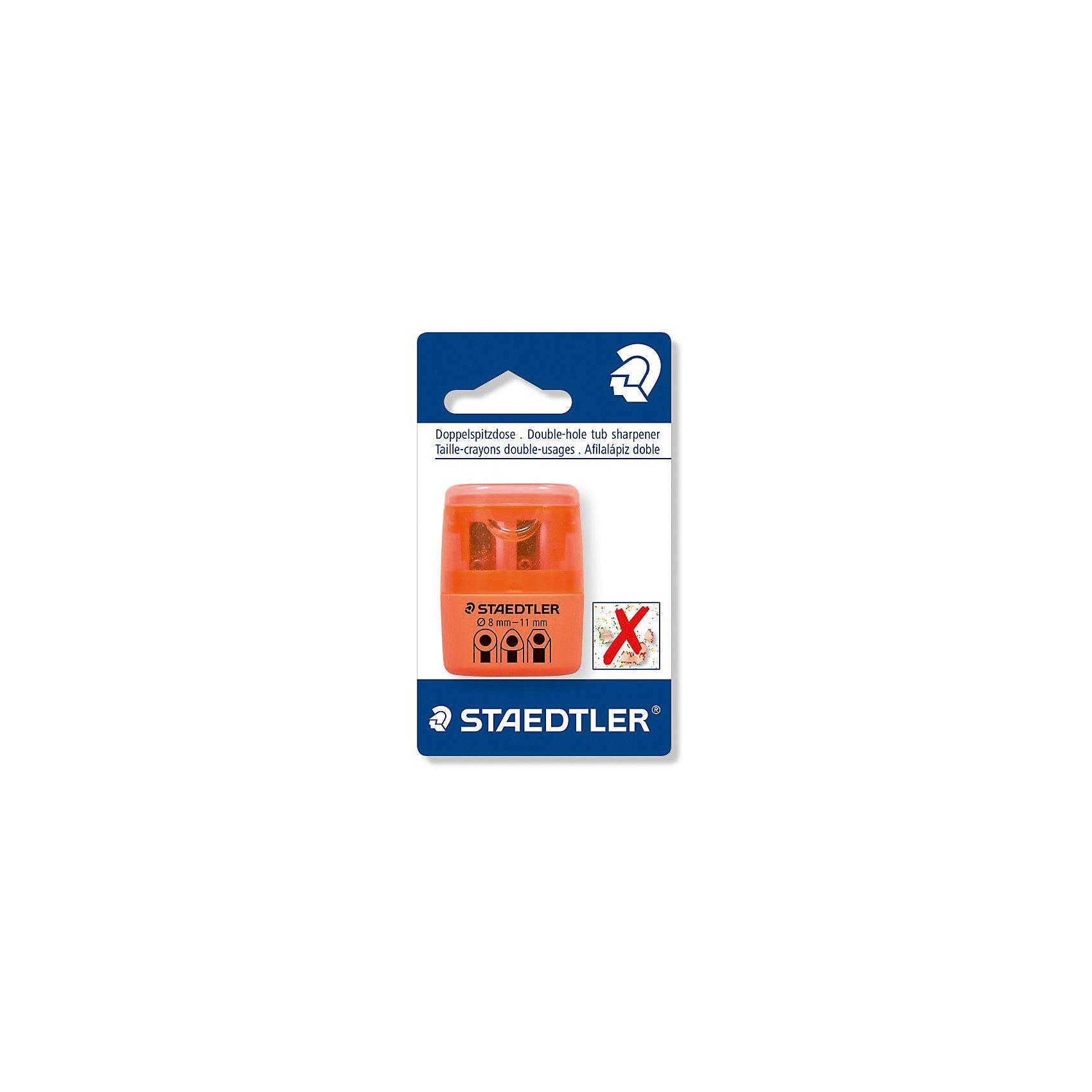 Точилка Staedtler 2 отверстия, оранжевый неонПисьменные принадлежности<br>Характеристики:<br><br>• возраст: от 5 лет<br>• количество отверстий: 2<br>• материал: пластик, металл<br>• цвет: неон оранжевый<br>• упаковка: блистер<br>• размер упаковки: 10х7х3 см.<br><br>Точилка в пластиковом корпусе на 2 отверстия подходит для чернографитовых стандартных карандашей диаметром до 8,2 мм с углом заточки 23° для четких и аккуратных линий. Также для толстых чернографитовых и цветных карандашей диаметром до 11 мм, угол заточки 30° для широких и ровных линий. Металлическая затачивающая часть. Закрытая конструкция предотвращает высыпание мусора во время заточки. Безопасный крепеж крышки.<br><br>STAEDTLER Точилку в пластиковом корпусе на 2 отверстия, неон оранжевый можно купить в нашем интернет-магазине.<br><br>Ширина мм: 110<br>Глубина мм: 66<br>Высота мм: 27<br>Вес г: 19<br>Возраст от месяцев: 60<br>Возраст до месяцев: 2147483647<br>Пол: Унисекс<br>Возраст: Детский<br>SKU: 7065367