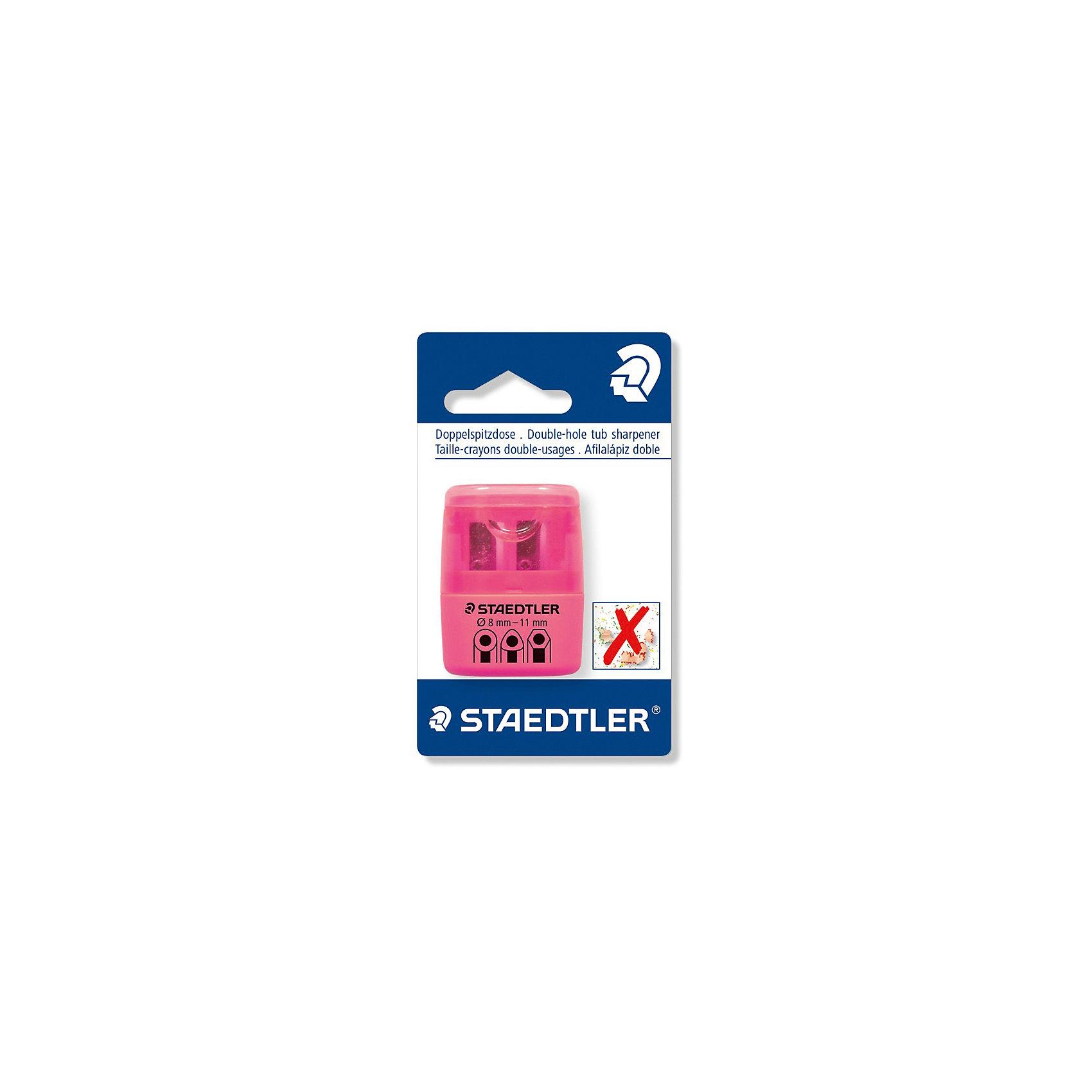 Точилка Staedtler 2 отверстия, розовый неонПисьменные принадлежности<br>Характеристики:<br><br>• возраст: от 5 лет<br>• количество отверстий: 2<br>• материал: пластик, металл<br>• цвет: неон розовый<br>• упаковка: блистер<br>• размер упаковки: 10х7х3 см.<br><br>Точилка в пластиковом корпусе на 2 отверстия подходит для чернографитовых стандартных карандашей диаметром до 8,2 мм с углом заточки 23° для четких и аккуратных линий. Также для толстых чернографитовых и цветных карандашей диаметром до 11 мм, угол заточки 30° для широких и ровных линий. Металлическая затачивающая часть. Закрытая конструкция предотвращает высыпание мусора во время заточки. Безопасный крепеж крышки.<br><br>STAEDTLER Точилку в пластиковом корпусе на 2 отверстия, неон розовый можно купить в нашем интернет-магазине.<br><br>Ширина мм: 110<br>Глубина мм: 66<br>Высота мм: 27<br>Вес г: 19<br>Возраст от месяцев: 60<br>Возраст до месяцев: 2147483647<br>Пол: Унисекс<br>Возраст: Детский<br>SKU: 7065368