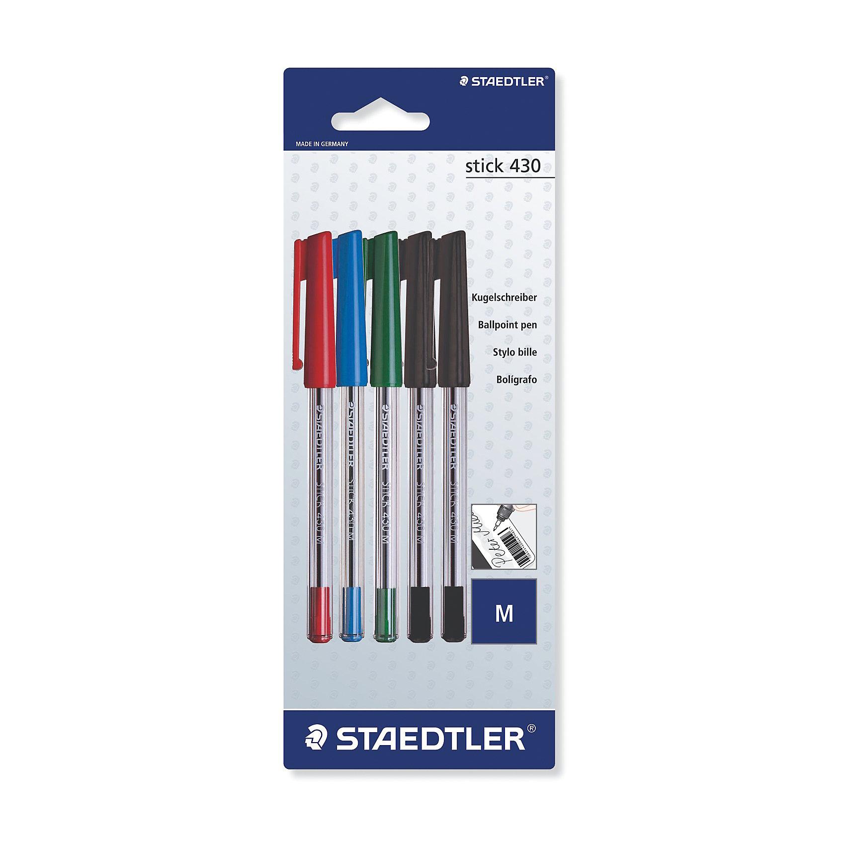 Набор шариковых ручек Staedtler Stick 430 M, 5 штПисьменные принадлежности<br>Характеристики:<br><br>• возраст: от 5 лет<br>• в наборе: 5 ручек<br>• цвет чернил: красный, синий, зеленый, черный<br>• материал корпуса: пластик<br>• толщина линии: 0,5 мм.<br>• упаковка: блистер<br>• размер упаковки: 23,4х9х1,6 см.<br><br>Набор шариковых ручек идеален для повседневной работы дома, в офисе и школе. Мягкое и плавное письмо на любой бумаге и картоне. Не смываемые чернила, устойчивые к стиранию, влажной среде и химическим реагентам. Прочная металлическая оправа наконечника пишущего узла. Функция автоматического выравнивания давления, предотвращение от утечки чернил в полете. Цвет чернил соответствует цвету колпачка и заглушки.<br><br>STAEDTLER Набор шариковых ручек stick 430 M, 0,5 мм, 4 цвета, 5 шт. можно купить в нашем интернет-магазине.<br><br>Ширина мм: 235<br>Глубина мм: 91<br>Высота мм: 15<br>Вес г: 49<br>Возраст от месяцев: 60<br>Возраст до месяцев: 2147483647<br>Пол: Унисекс<br>Возраст: Детский<br>SKU: 7065369