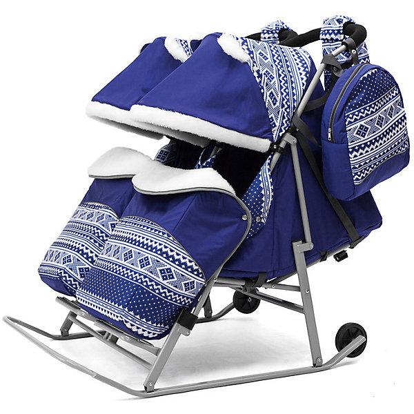 Санки-коляска для двойни ABC Academy 2В Твин Скандинавия на серой раме, синийСанки-коляски<br>Характеристики:<br><br>• санки-коляски для двойни;<br>• независимое раскладывание спинок (один ребенок может лежать, другой сидеть)<br>• автоматический механизм сложения;<br>• регулируемая спинка сиденья, 3 позиции наклона;<br>• система 5-ти точечных ремней безопасности;<br>• защитный бампер перед ребенком, регулирование капюшонов, отдельные накидки на ножки;<br>• большой капюшон декорирован меховыми ушками;<br>• капюшон и накидка с меховой отделкой;<br>• алюминиевая подножка, диаметр перекладины  4 см;<br>• диаметр полозьев: 3 см;<br>• высота родительской ручки регулируется;<br>• диаметр колес 12 см;<br>• обрезиненные колеса;<br>• тип складывания: книжка;<br>• санки-коляска складывается вместе с капюшоном и накидкой на ножки;<br>• в комплекте муфта для рук, сумка для мамы, чехол на ножки;<br>• тип крепления: на кнопках;<br>• допустимая нагрузка: до 60 кг;<br>• ширина каждого сидения: 38 см;<br>• размер санок для двойни: 120х80х40 см;<br>• материал: металл, полиэстер, водоотталкивающий материал дюспа.<br><br>Санки-коляску ABC academy Скандинавия 2В ТвинСиний на серой раме можно купить в нашем интернет-магазине.<br><br>Ширина мм: 1200<br>Глубина мм: 820<br>Высота мм: 200<br>Вес г: 12800<br>Цвет: синий<br>Возраст от месяцев: 0<br>Возраст до месяцев: 36<br>Пол: Унисекс<br>Возраст: Детский<br>SKU: 7068128