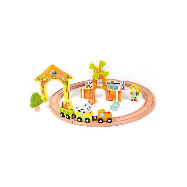 Деревянная железная дорога Classic World Каникулы на фермеЖелезные дороги<br>Характеристики:<br><br>• вес: 1,5кг.;<br>• материал: дерево;<br>• упаковка: коробка;<br>• размер упаковки: 36х25х9см.;<br>• для детей в возрасте: от 3 лет;<br>• страна производитель: Китай.<br><br>Деревянная железная дорога «Каникулы на ферме» бренда «Classic Wordl» (Классик Вордл) станет желанным подарком для маленьких мальчишек. Он создан из высококачественных, экологически чистых сортов дерева и покрыт акриловой краской на водной основе, что очень важно для детских товаров.<br><br>Предметы необычной яркой расцветки, имеют оптимальные размеры и украсят интерьер любой детской комнаты. В комплект входят двадцать пять элементов для создания железной дороги. В наборе есть множество фигурок, с ними ребёнок может разнообразить дорогу по своему вкусу. Паровозик и вагончики легко сцепляются между собой с помощью магнитиков. Детали крупные и гладкие, что очень удобно для детских ручек. Игра надолго привлечёт внимание ребёнка.<br><br>Играя дети развивают социальные навыки, мелкую моторику, фантазию, внимание и просто увлекательно проводят время в кругу друзей.<br><br>Деревянная железная дорога «Каникулы на ферме» можно купить в нашем интернет-магазине.<br>Ширина мм: 400; Глубина мм: 110; Высота мм: 300; Вес г: 1500; Возраст от месяцев: 36; Возраст до месяцев: 2147483647; Пол: Унисекс; Возраст: Детский; SKU: 7073766;