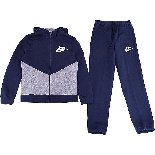 Спортивный костюм NIKEСпортивная форма<br>Характеристики товара:<br><br>• цвет: синий<br>• комплектация: курточка, брюки<br>• состав ткани: 80% хлопок, 20% полиэстер<br>• подкладка - 100% хлопок <br>• длинные рукава<br>• застежка: молния<br>• пояс: резинка и шнурок<br>• особенности модели: спортивный стиль<br>• сезон: демисезон<br>• капюшон: несъемный<br>• страна бренда: США<br>• страна изготовитель: Малайзия<br><br>Спортивный костюм Найк сделан из дышащей ткани с преобладанием натурального хлопка в составе. Синий спортивный костюм Nike отлично подходит для отдыха и занятий спортом. Эта модель спортивного комплекта для детей отличается удобным капюшоном и карманами. Стильный детский спортивный костюм от популярного бренда Nike создан с учетом потребностей детей. <br><br>Спортивный костюм Nike (Найк) можно купить в нашем интернет-магазине.<br>Ширина мм: 247; Глубина мм: 16; Высота мм: 140; Вес г: 225; Цвет: серый; Возраст от месяцев: 168; Возраст до месяцев: 180; Пол: Унисекс; Возраст: Детский; Размер: 158/170,122/128,128/134,135/140,147/158; SKU: 7073916;