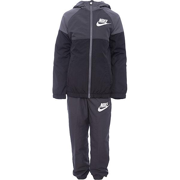 Спортивный костюм NIKEСпортивная форма<br>Характеристики товара:<br><br>• цвет: серый<br>• комплектация: курточка, брюки<br>• состав ткани: 100% полиэстер<br>• подкладка - 100% полиэстер<br>• длинные рукава<br>• застежка: молния<br>• пояс: резинка и шнурок<br>• особенности модели: спортивный стиль<br>• сезон: демисезон<br>• капюшон: несъемный<br>• страна бренда: США<br>• страна изготовитель: Малайзия<br><br>Такой спортивный костюм Nike - отличный вариант комфортной и качественной одежды для спорта и отдыха. Курточка из спортивного комплекта для детей дополнена капюшоном и карманами. Этот детский спортивный костюм от бренда Nike разработан с учетом последних веяний в моде. Спортивный костюм Найк не сковывает движения ребенка. <br><br>Спортивный костюм Nike (Найк) можно купить в нашем интернет-магазине.<br>Ширина мм: 247; Глубина мм: 16; Высота мм: 140; Вес г: 225; Цвет: серый; Возраст от месяцев: 84; Возраст до месяцев: 96; Пол: Унисекс; Возраст: Детский; Размер: 122/128,158/170,128/134,135/140,147/158; SKU: 7073928;