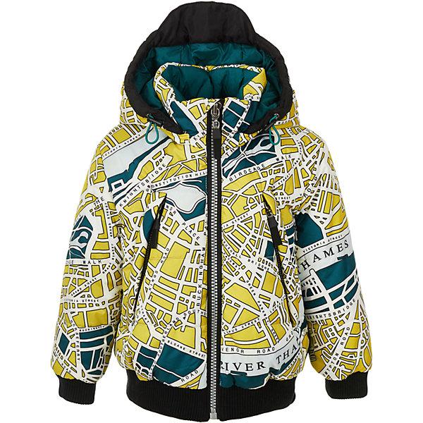 Куртка Gulliver для мальчикаВерхняя одежда<br>Характеристики товара:<br><br>• цвет: мульти;<br>• состав: 100% полиэстер;<br>• подкладка: 65% хлопок, 35% полиэстер;<br>• утеплитель: 100% полиэстер;<br>• сезон: демисезон;<br>• температурный режим: от +7 до -10С;<br>• особенности: с рисунком;<br>• застежка: молния с защитой подбородка;<br>• капюшон не отстегивается;<br>• плащевая ткань;<br>• трикотажные эластичные манжеты и низ изделия;<br>• два кармана на молнии;<br>• коллекция: Навигатор;<br>• страна бренда: Россия;<br>• страна изготовитель: Китай.<br><br>Демисезонная куртка с капюшоном для мальчика Утепленная куртка должна быть не только удобной, практичной, функциональной, но и красивой, стильной, оригинальной. Именно такая, куртка для мальчика из коллекции Навигатор, созданная из оригинальной принтованной плащевки. Куртка застегивается на молнию с защитой подбородка от защемления, имеется два кармана на молнии.<br><br>Куртку Gulliver для мальчика (Гулливер) можно купить в нашем интернет-магазине.<br>Ширина мм: 356; Глубина мм: 10; Высота мм: 245; Вес г: 519; Цвет: белый; Возраст от месяцев: 60; Возраст до месяцев: 72; Пол: Мужской; Возраст: Детский; Размер: 116,98,104,110; SKU: 7076718;