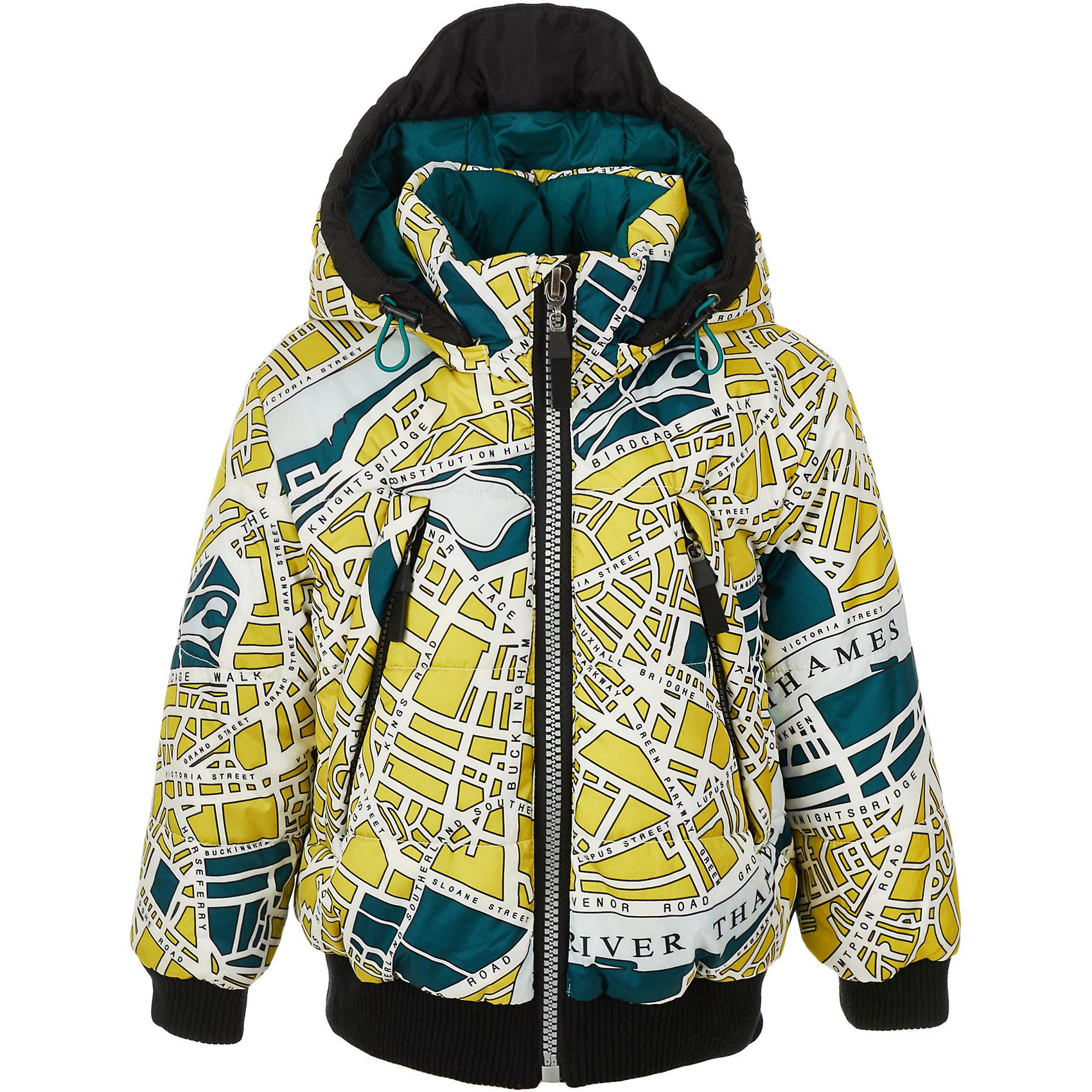 Куртка Gulliver для мальчикаВерхняя одежда<br>Куртка Gulliver для мальчика<br>Готовь сани летом… Именно этим правилом руководствуются заботливые мамы, предпочитающие купить куртку на синтепоне до наступления осенних холодов. Детская куртка должна быть не только удобной, практичной, функциональной, но и красивой, стильной, оригинальной. Поклонники Gulliver знают: стильная комфортная куртка - залог прекрасного настроения и отличного самочувствия во время длительных прогулок в любую погоду. Именно такая, куртка для мальчика из коллекции Навигатор, созданная из оригинальной принтованной плащевки, сделает образ ребенка интересным и занимательным.<br>Состав:<br>верх:  100% полиэстер; подкладка: 65% хлопок 35% полиэстер; утеплитель: 100% полиэстер<br><br>Ширина мм: 356<br>Глубина мм: 10<br>Высота мм: 245<br>Вес г: 519<br>Цвет: белый<br>Возраст от месяцев: 60<br>Возраст до месяцев: 72<br>Пол: Мужской<br>Возраст: Детский<br>Размер: 116,98,104,110<br>SKU: 7076718