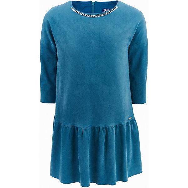 Платье Gulliver для девочкиОсенне-зимние платья и сарафаны<br>Характеристики товара:<br><br>• цвет: зеленый;<br>• состав: 80% полиэстер 20% эластан; <br>• подкладка: 100% хлопок;<br>• сезон: демисезон;<br>• особенности: замшевое, на подкладке;<br>• с длинным рукавом;<br>• застежка: молния сзади;<br>• элемент декора в виде серебристой цепочки;<br>• коллекция: Игра теней;<br>• страна бренда: Россия;<br>• страна изготовитель: Китай.<br><br>Платье с длинным рукавом для девочки. Замшевое платье застегивается сзади на молнию. Небольшая деталь - отлетная серебристая цепочка, расположенная по линии горловины, придает модели особое обаяние и делает платье модным и оригинальным. Если вы хотите купить детское платье, присмотритесь к этой модели! Мягкое, уютное, комфортное, красивое, оно подчеркнет индивидуальность юной модницы, сделав ее образ очаровательным.<br><br>Платье Gulliver для девочки (Гулливер) можно купить в нашем интернет-магазине.<br><br>Ширина мм: 236<br>Глубина мм: 16<br>Высота мм: 184<br>Вес г: 177<br>Цвет: голубой<br>Возраст от месяцев: 72<br>Возраст до месяцев: 84<br>Пол: Женский<br>Возраст: Детский<br>Размер: 122,140,134,128<br>SKU: 7076886
