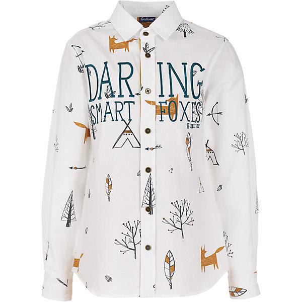 Рубашка Gulliver для мальчикаБлузки и рубашки<br>Характеристики товара:<br><br>• цвет: белый;<br>• состав: 100% хлопок;<br>• сезон: круглый год;<br>• особенности: с рисунком, повседневная, нарядная;<br>• застежка: пуговицы;<br>• манжеты рукавов на пуговицах;<br>• с длинным рукавом;<br>• коллекция: Сахалин;<br>• страна бренда: Россия;<br>• страна изготовитель: Китай.<br><br>Рубашка с длинным рукавом для мальчика. Рубашка застегивается на пуговицы, манжеты рукавов на двух пуговицах. Чуть приталенный силуэт, необычный принт, оригинальная шрифтовая отделка, делают рубашку очень привлекательной и яркой!<br><br>Рубашку Gulliver (Гулливер) можно купить в нашем интернет-магазине.<br>Ширина мм: 174; Глубина мм: 10; Высота мм: 169; Вес г: 157; Цвет: белый; Возраст от месяцев: 72; Возраст до месяцев: 84; Пол: Мужской; Возраст: Детский; Размер: 122,140,134,128; SKU: 7076964;