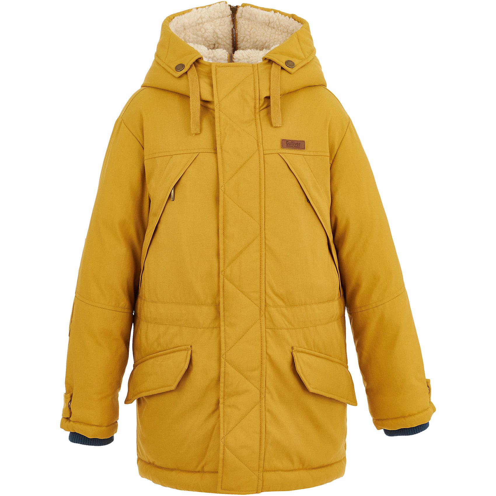 Полупальто Gulliver для мальчикаВерхняя одежда<br>Полупальто Gulliver для мальчика<br>Какими бы красивыми и комфортными не были детские куртки, они никогда не заменят пальто! Пальто с детства делает ребенка джентльменом. Оно выглядит элегантно, изысканно и не уступает куртке в функциональности. Модное пальто из сукна глубокого зеленого цвета - прекрасная возможность подчеркнуть индивидуальность ребенка, сделав его осенний гардероб стильным и выразительным. Если вы хотите приобрести ребенку достойную вещь для осенней погоды, обратите внимание на это пальто! Модная, красивая, комфортная, практичная вещь станет ярким акцентом образа ребенка.<br>Состав:<br>верх:  25% шерсть  75% полиэстер; подкладка: 100% полиэстер; утеплитель: 100% полиэстер<br><br>Ширина мм: 356<br>Глубина мм: 10<br>Высота мм: 245<br>Вес г: 519<br>Цвет: желтый<br>Возраст от месяцев: 96<br>Возраст до месяцев: 108<br>Пол: Мужской<br>Возраст: Детский<br>Размер: 134,140,122,128<br>SKU: 7076984